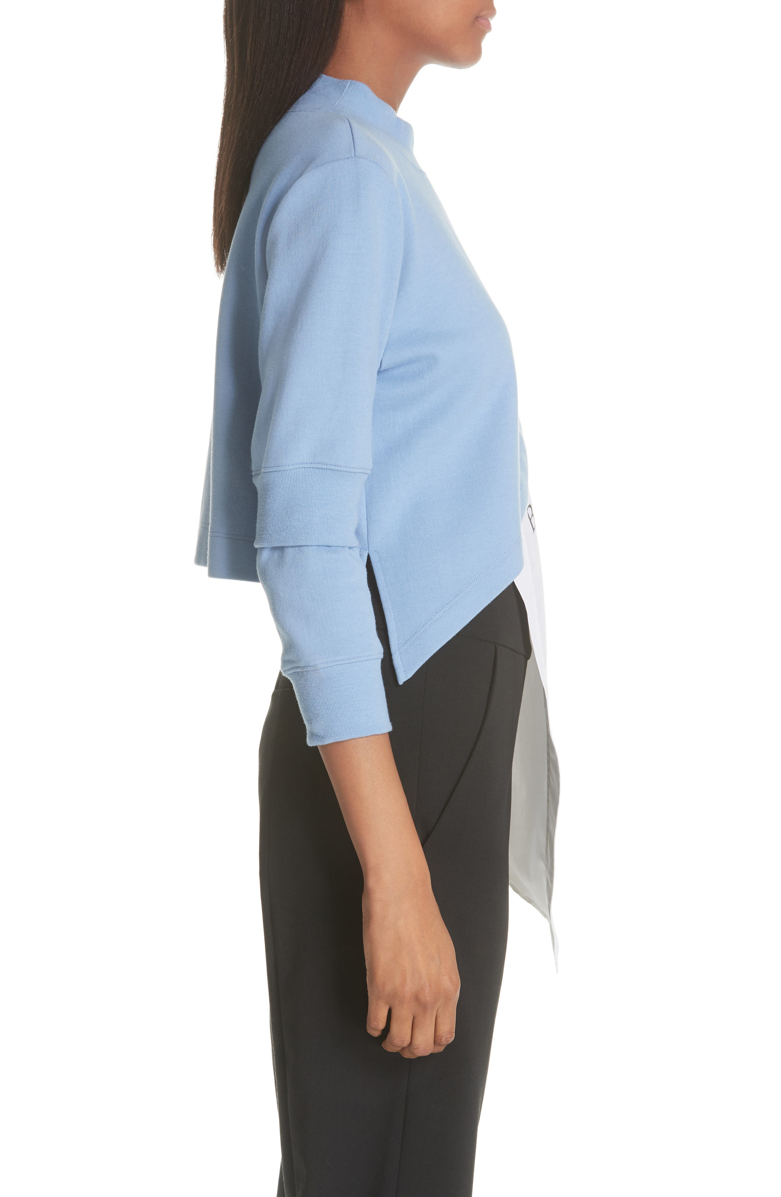 Asymmetrical Mixed Media Sweatshirt,                             Alternate thumbnail 3, color,                             LIGHT BLUE/ WHITE