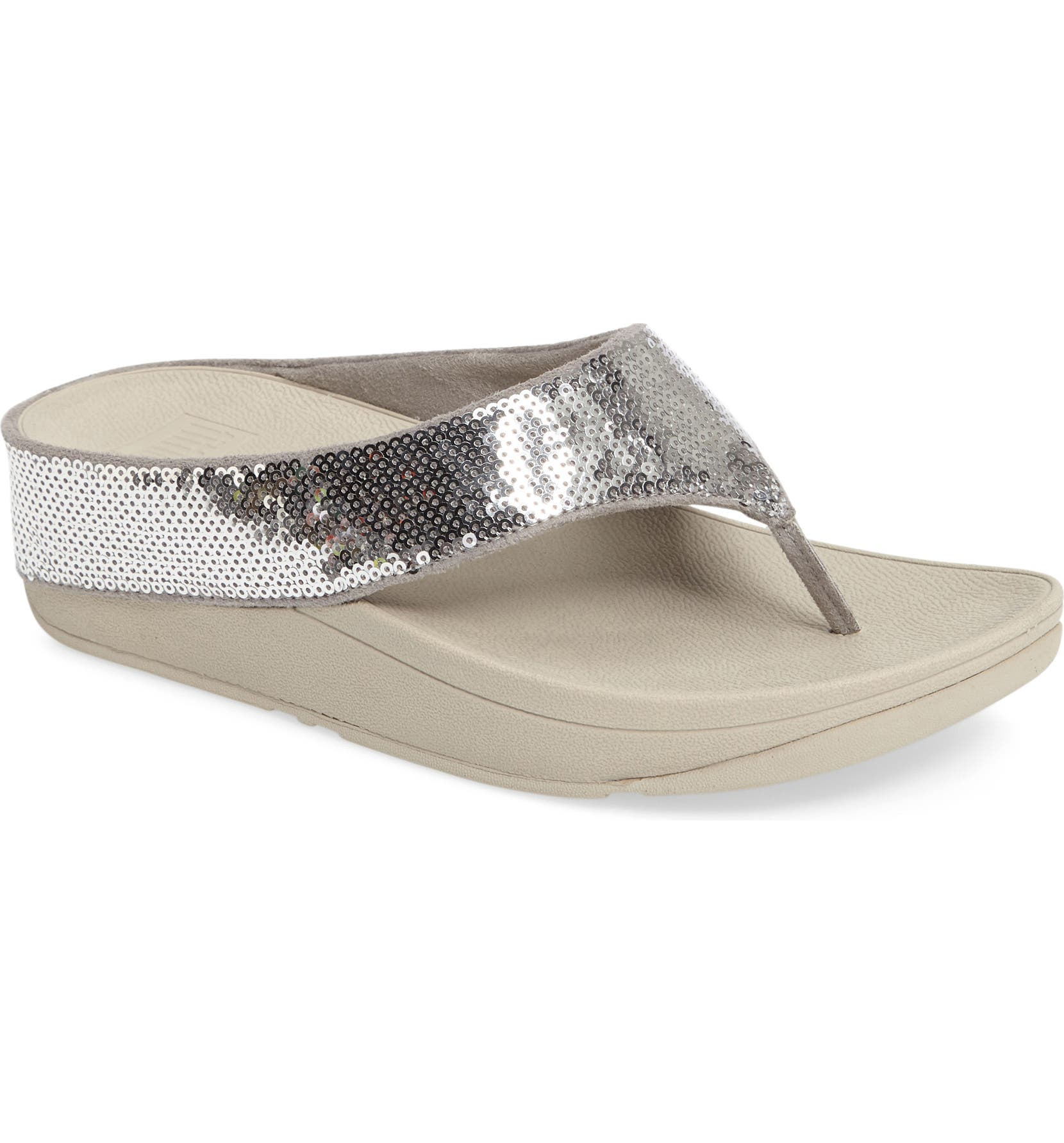 f4696354f414cc FitFlop Ringer Sequined Wedge Flip Flop (Women)