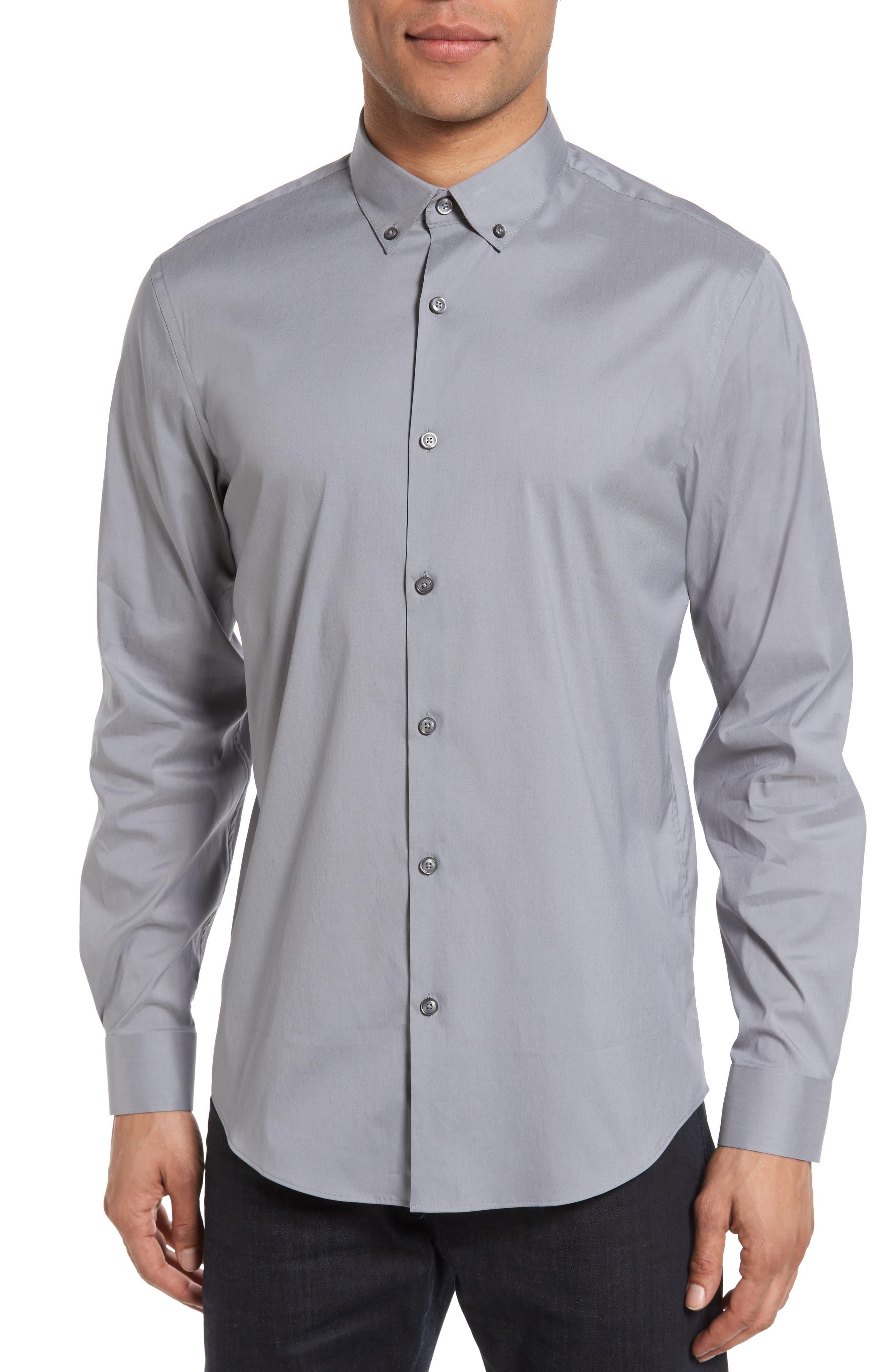 Calibrate Trim Fit Stretch Woven Sport Shirt, Grey