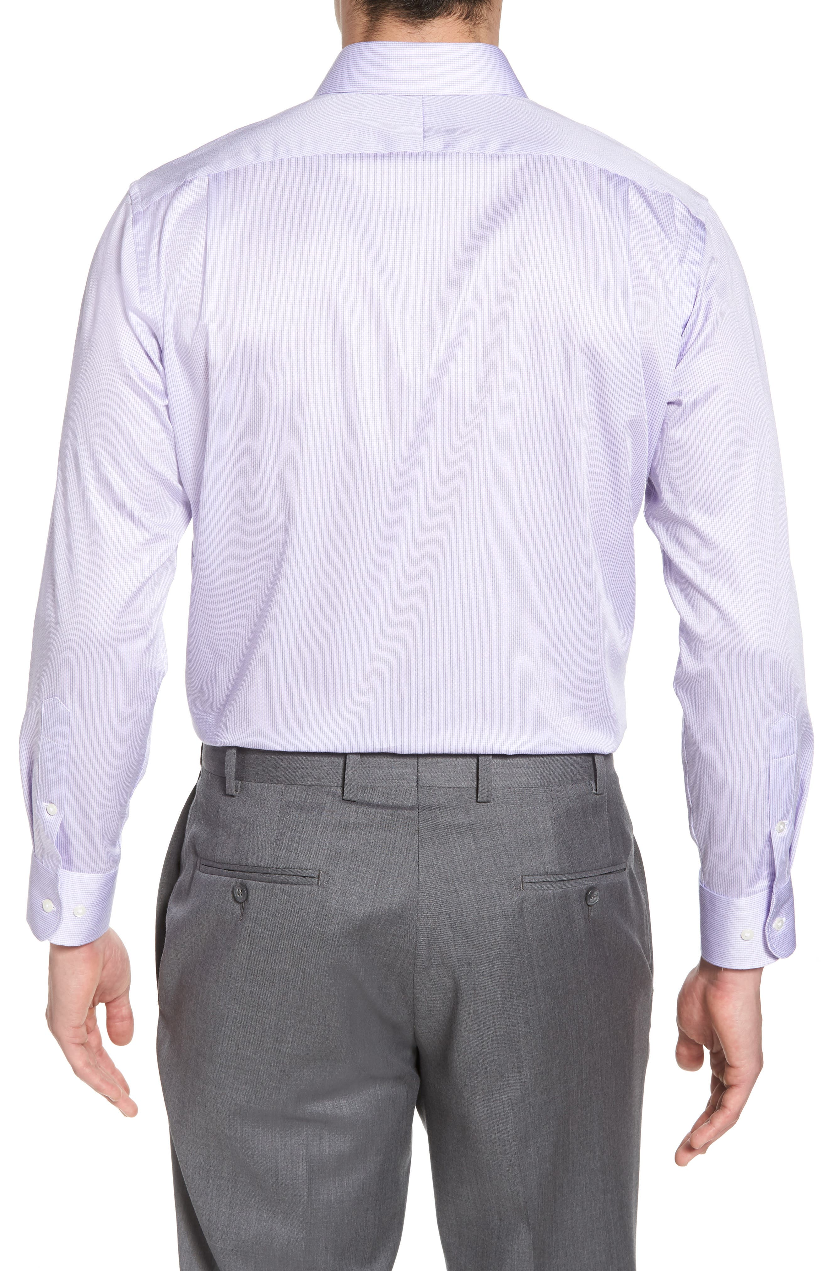 Trim Fit Stripe Dress Shirt,                             Alternate thumbnail 9, color,