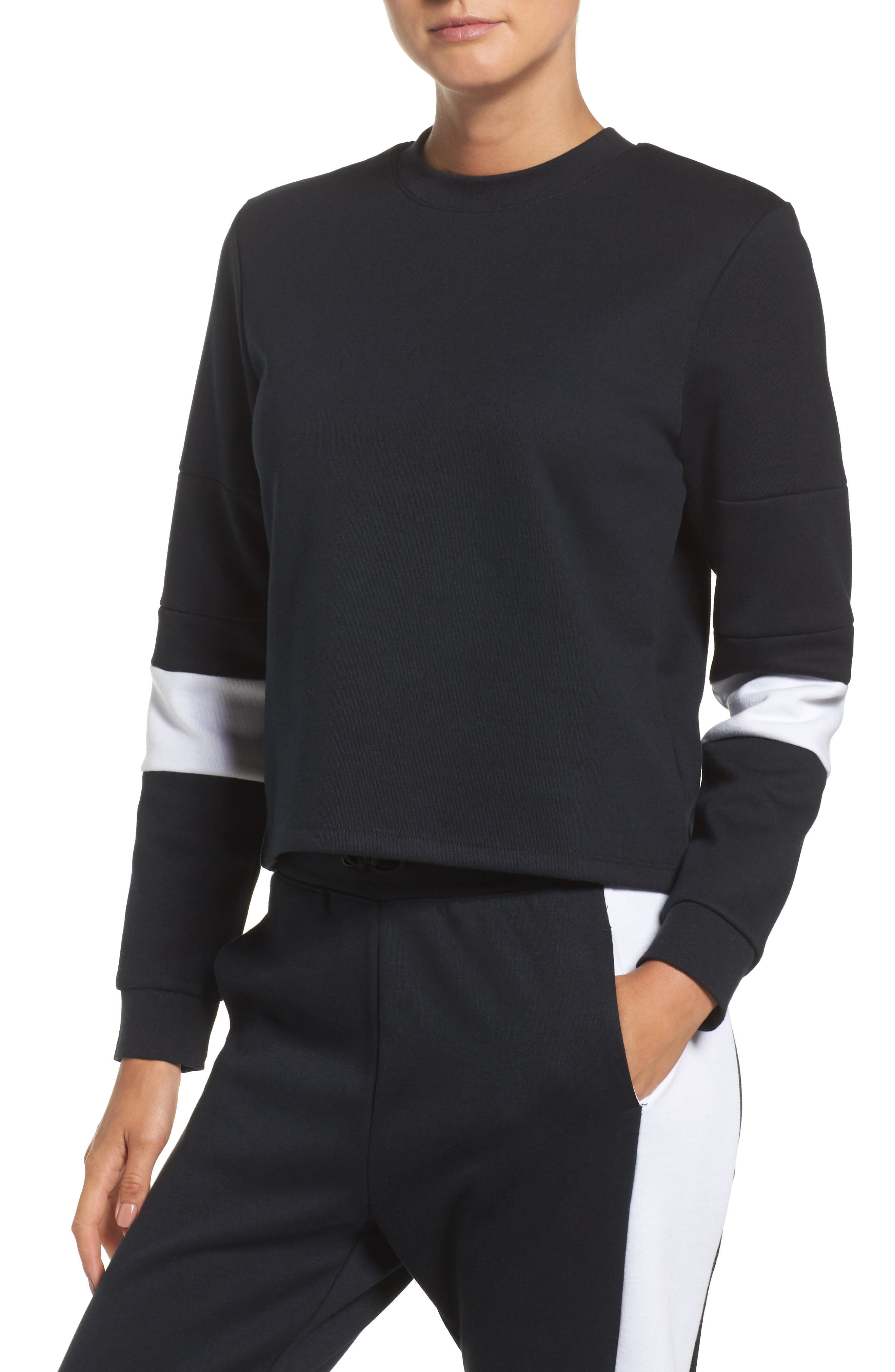 Colorblock Crewneck Top,                         Main,                         color, BLACK