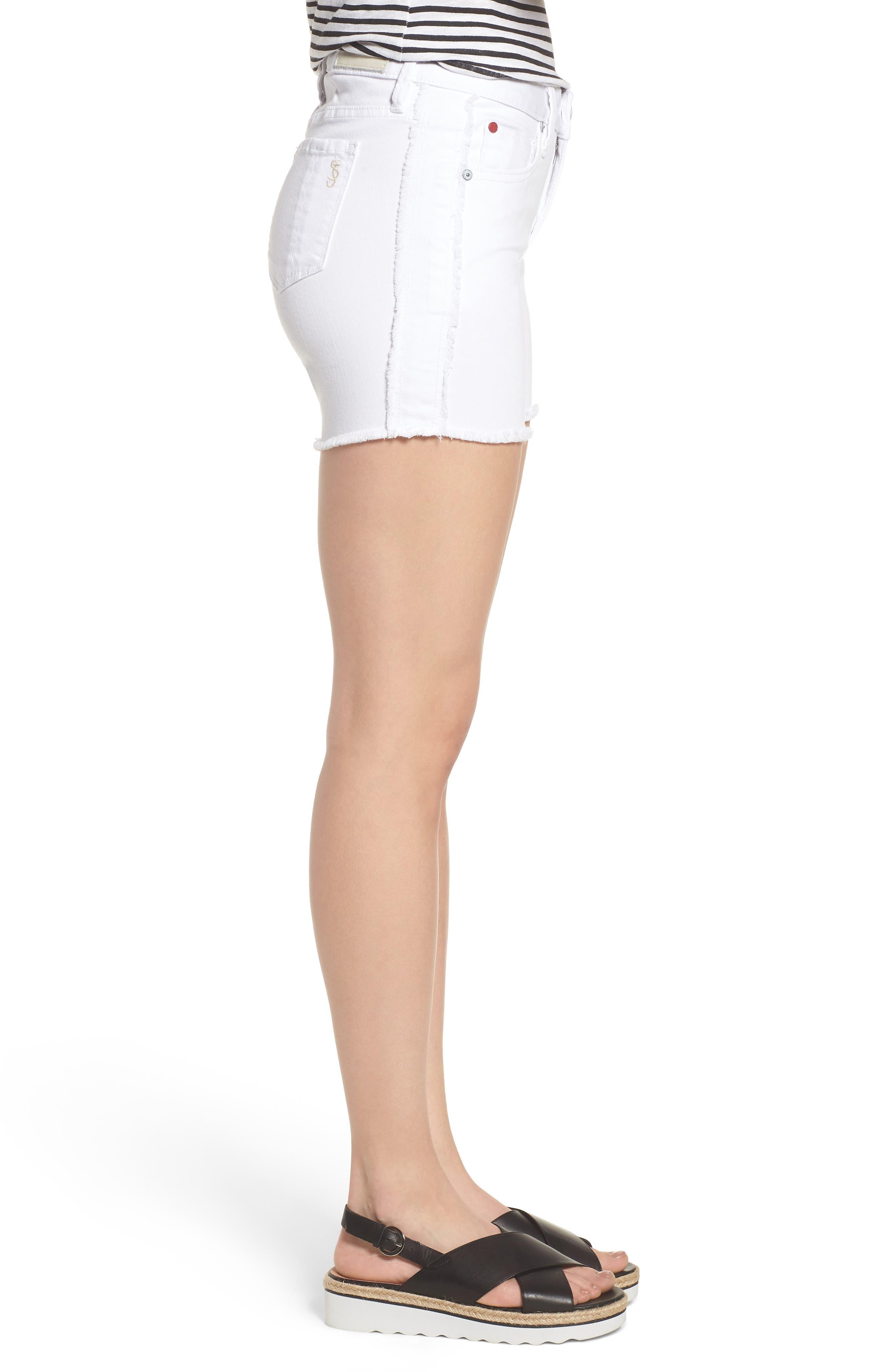 Tux Frayed Denim Shorts,                             Alternate thumbnail 3, color,