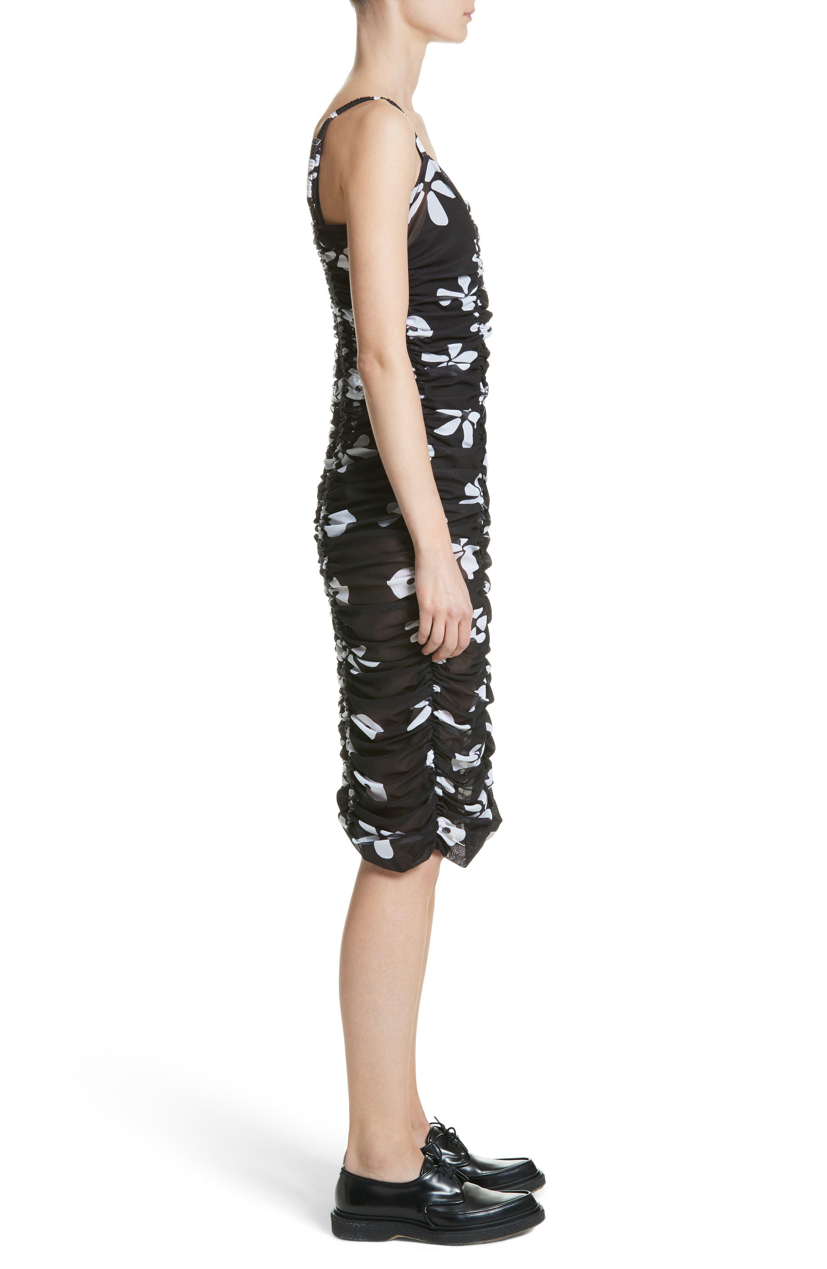 Scarlett Floral Print Mesh Dress,                             Alternate thumbnail 3, color,                             001