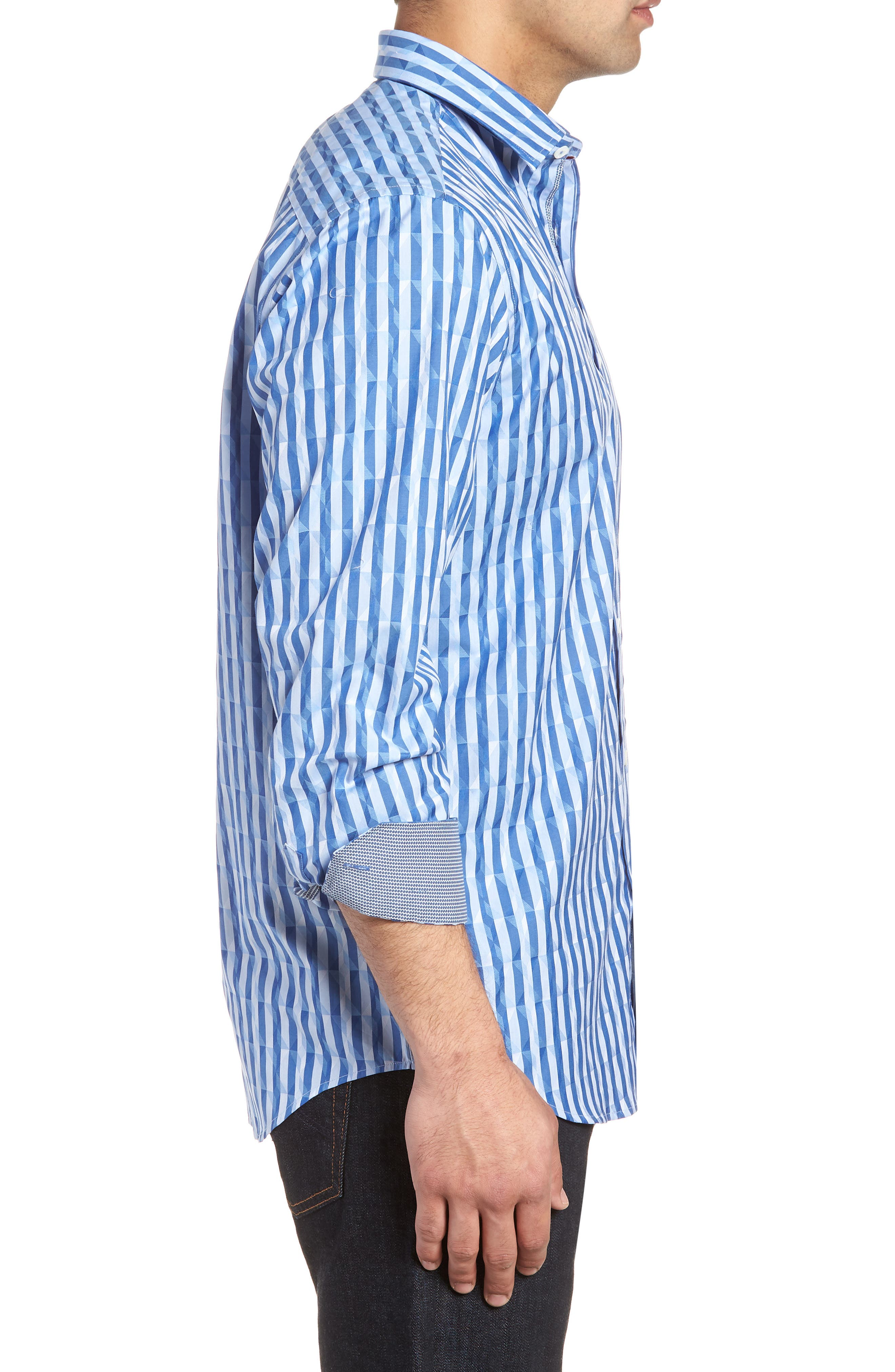 Candy Stripe Geometric Classic Fit Sport Shirt,                             Alternate thumbnail 3, color,                             422