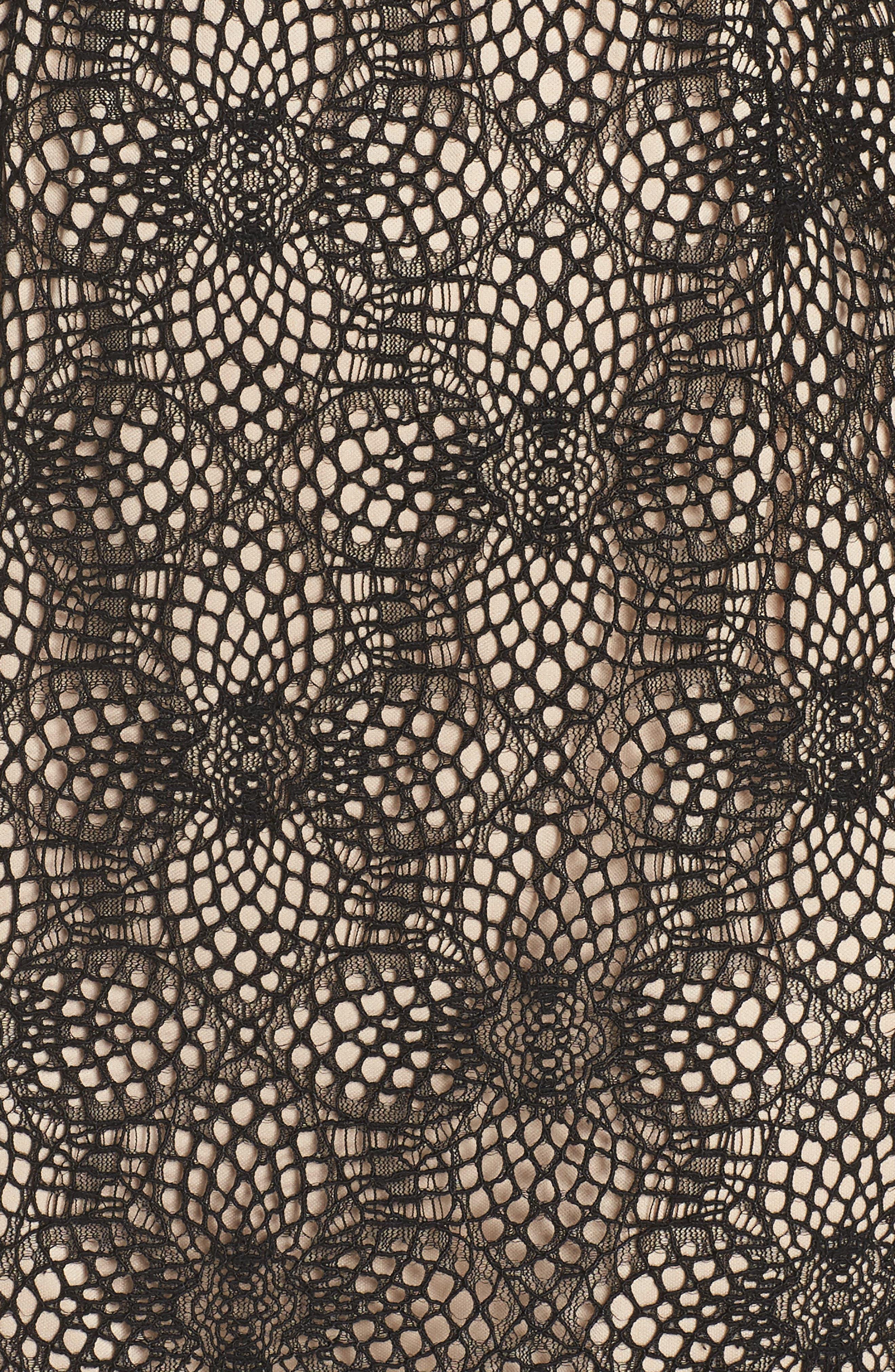 Juliette Lace Sheath Dress,                             Alternate thumbnail 6, color,                             BLACK