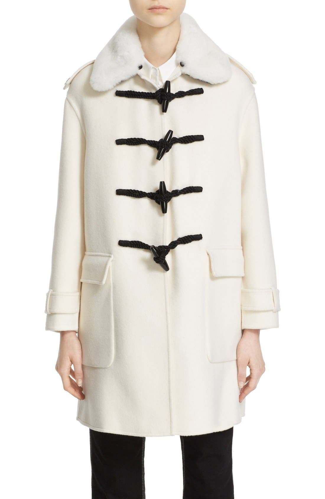 BURBERRY 'Highgate' Cashmere Duffle Coat with Removable Genuine Rabbit Fur Collar, Main, color, 900