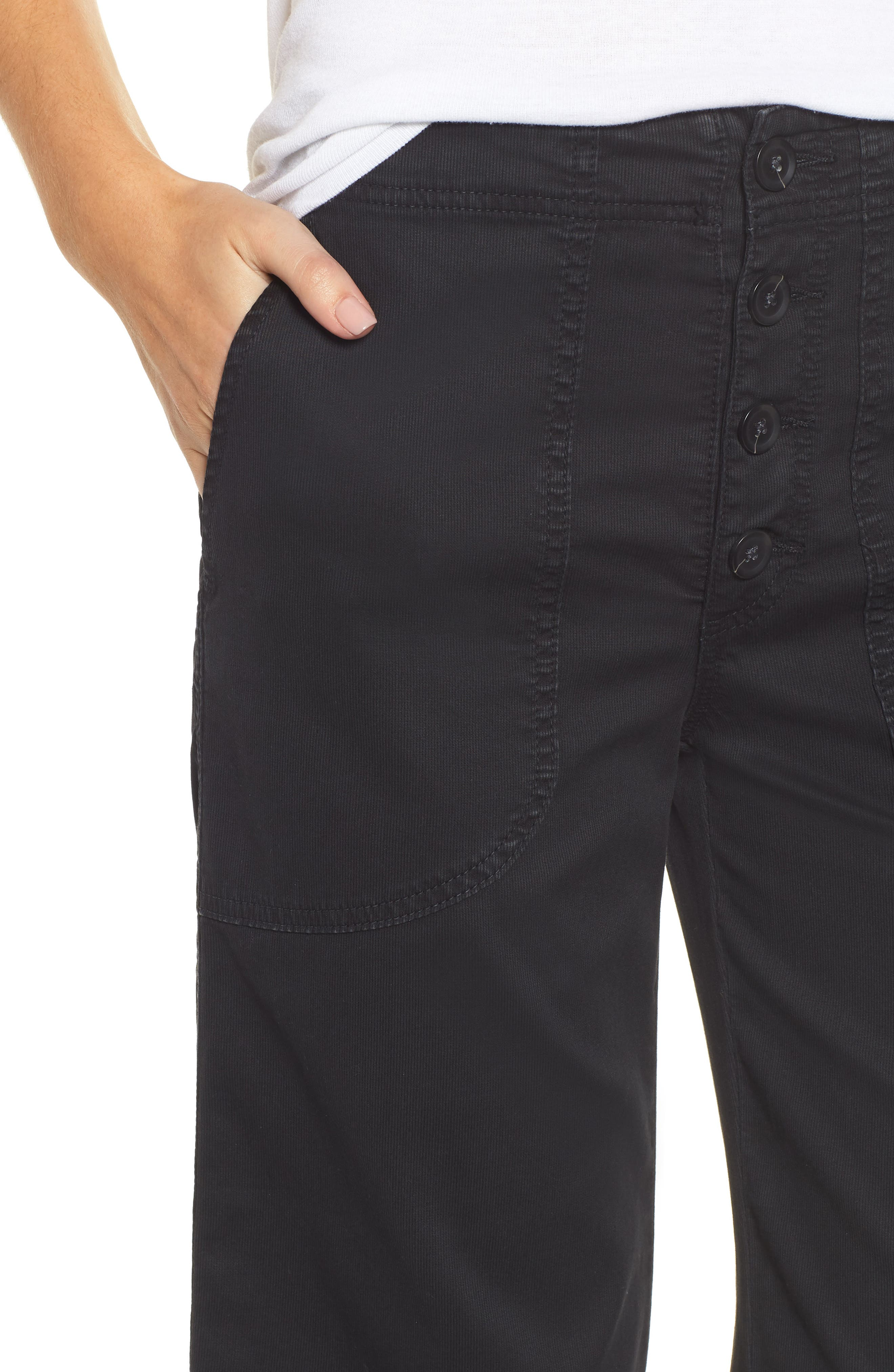Etta High Waist Crop Wide Leg Jeans,                             Alternate thumbnail 4, color,                             SULFUR SUPER BLACK