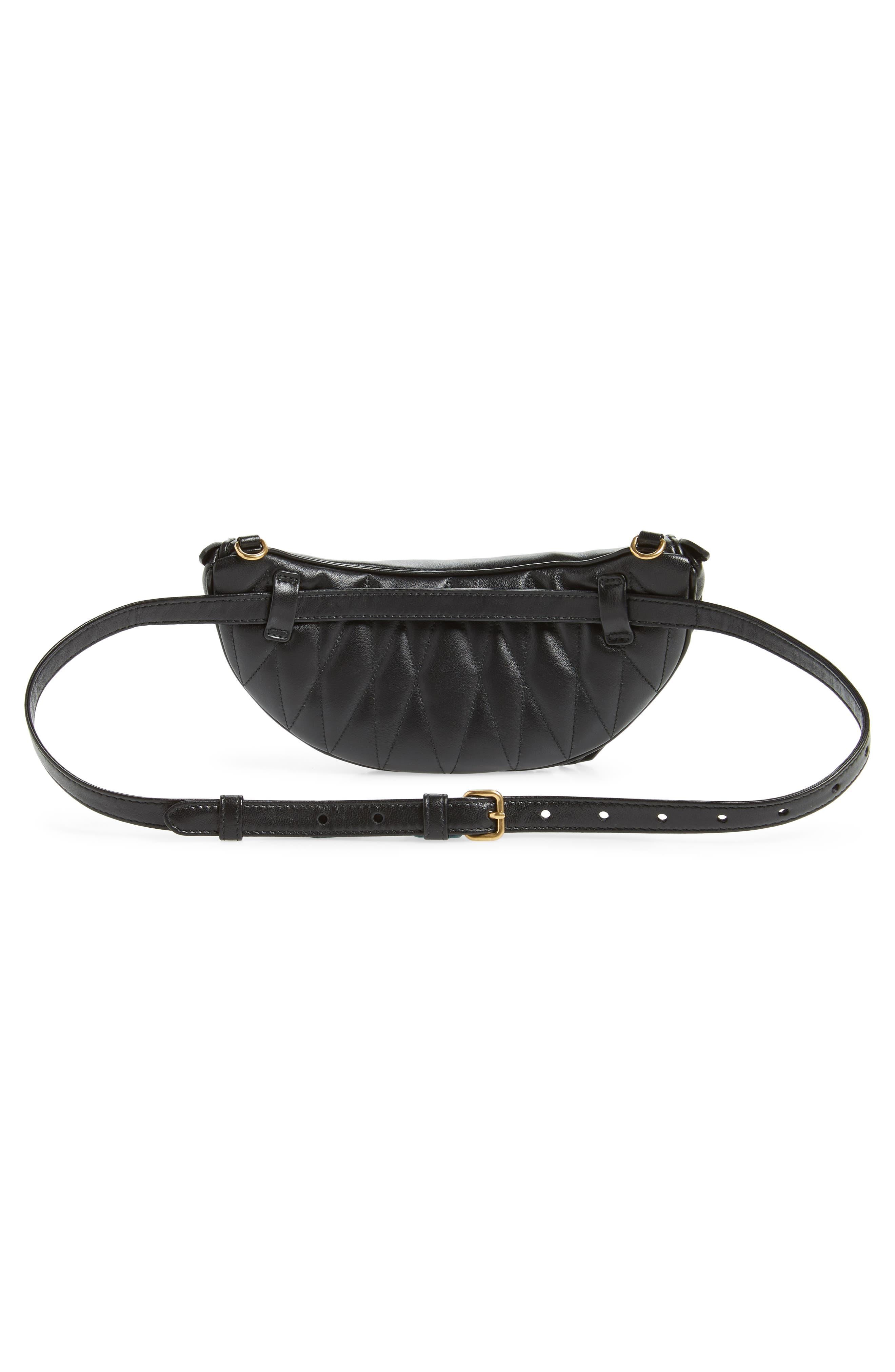 Matelassé Lambskin Leather Belt Bag,                             Alternate thumbnail 5, color,                             NERO