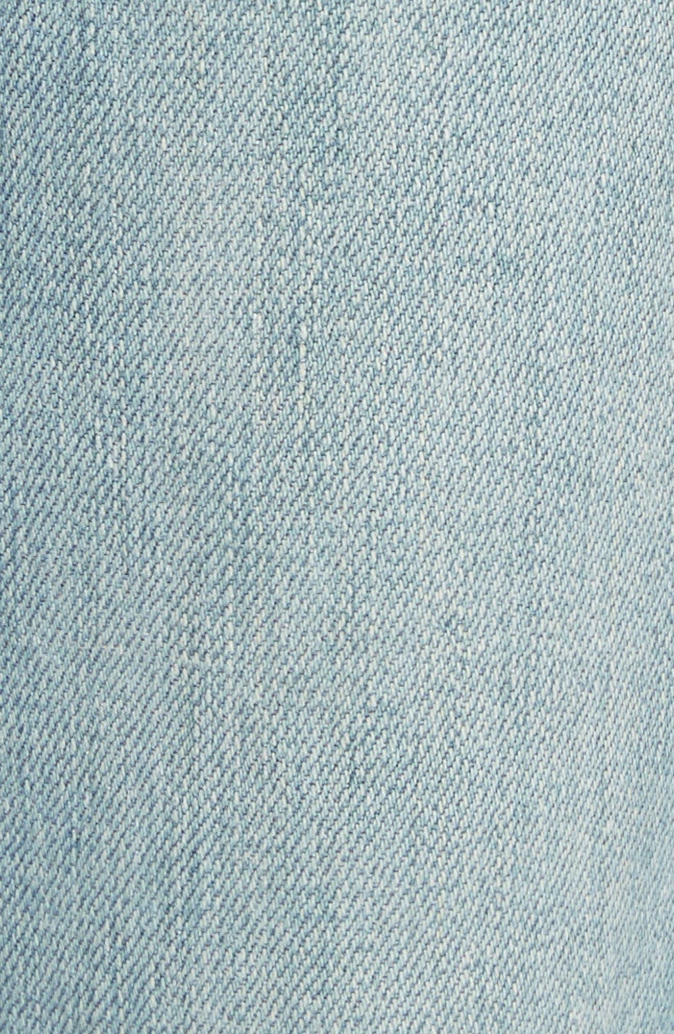 Le Nouveau Shredded Straight Leg Crop Jeans,                             Alternate thumbnail 5, color,                             450