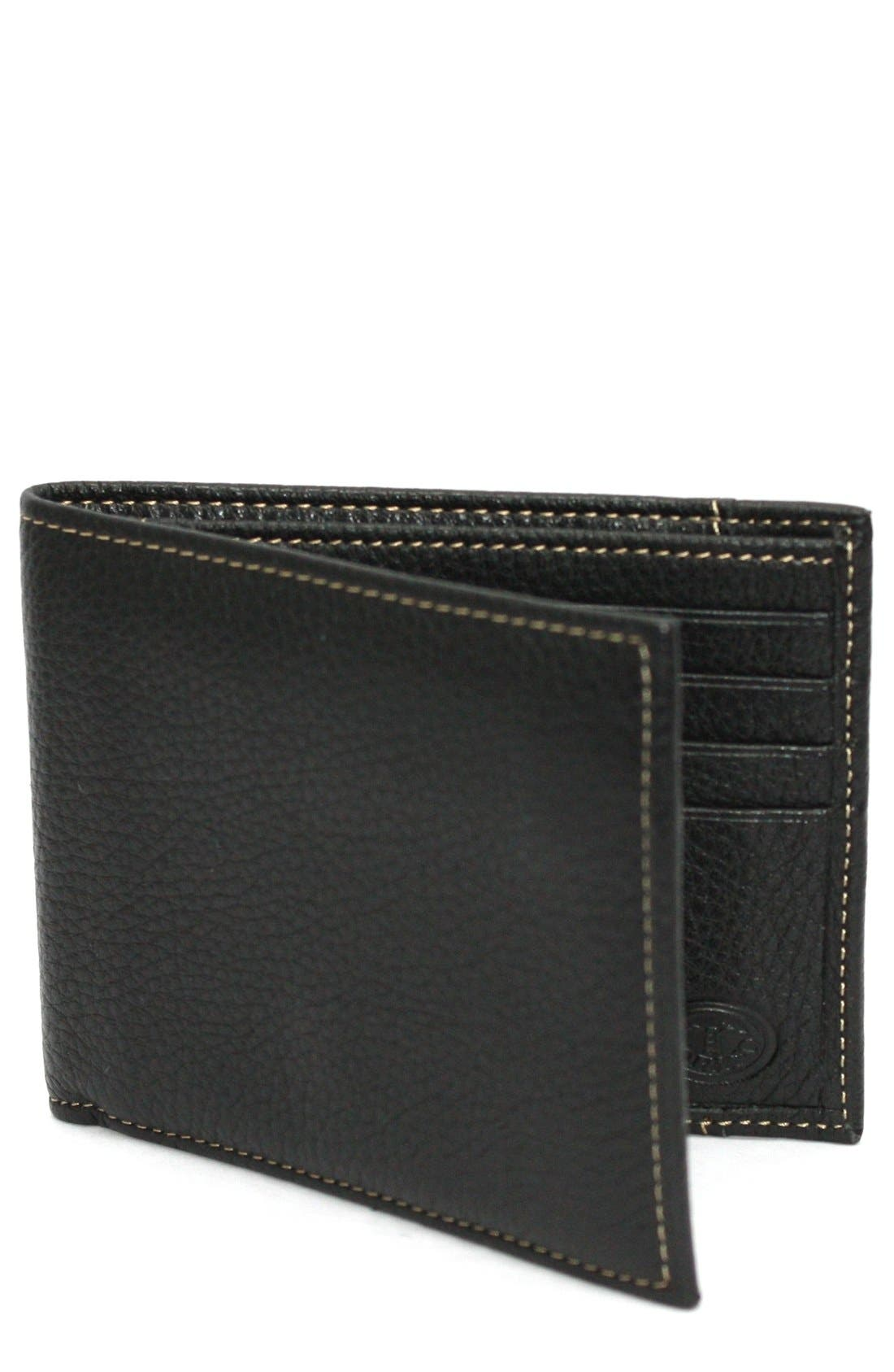 Leather Billfold Wallet,                         Main,                         color, BLACK