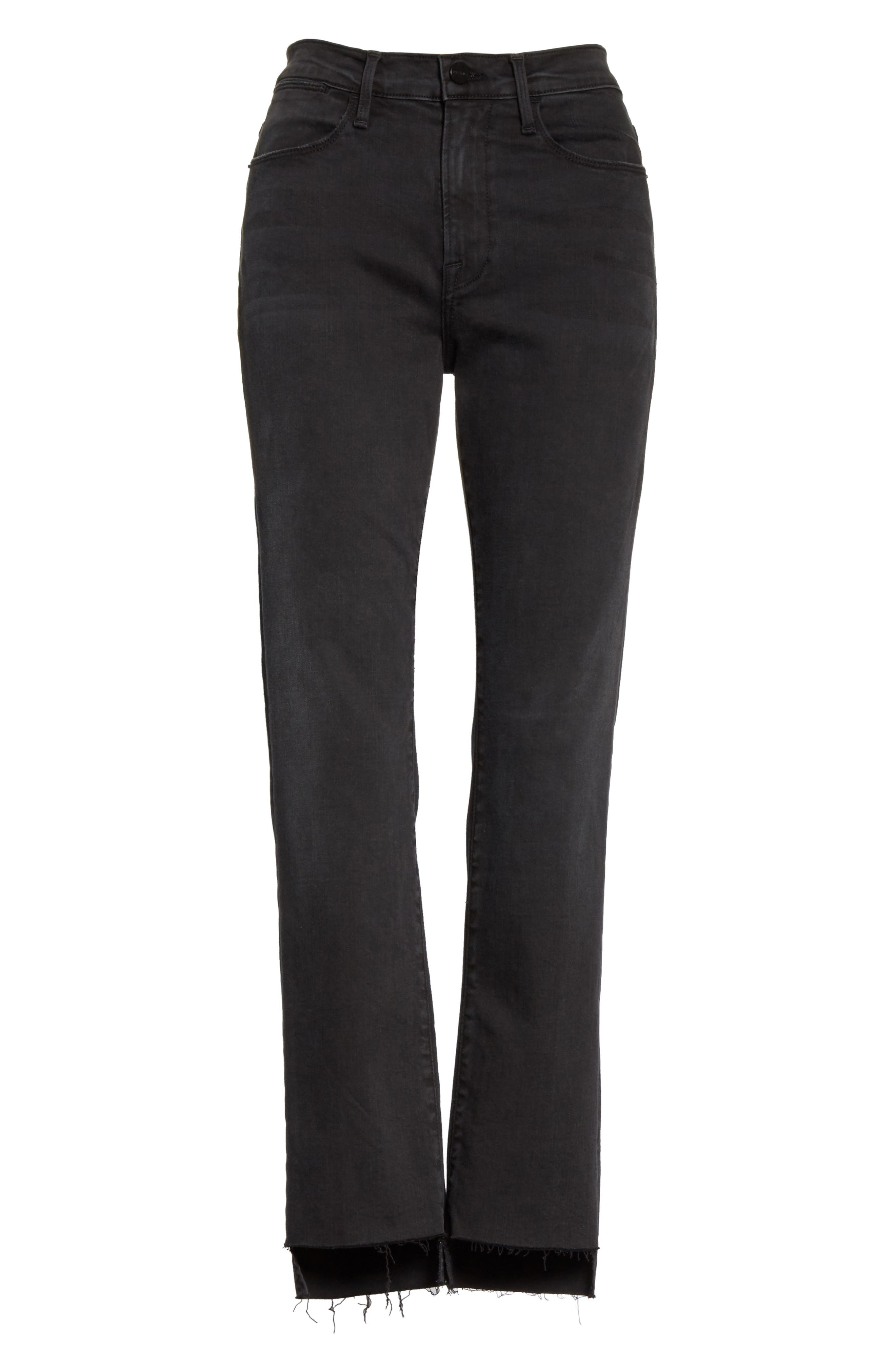 Le High Raw Stagger Straight Jeans,                             Alternate thumbnail 7, color,                             001