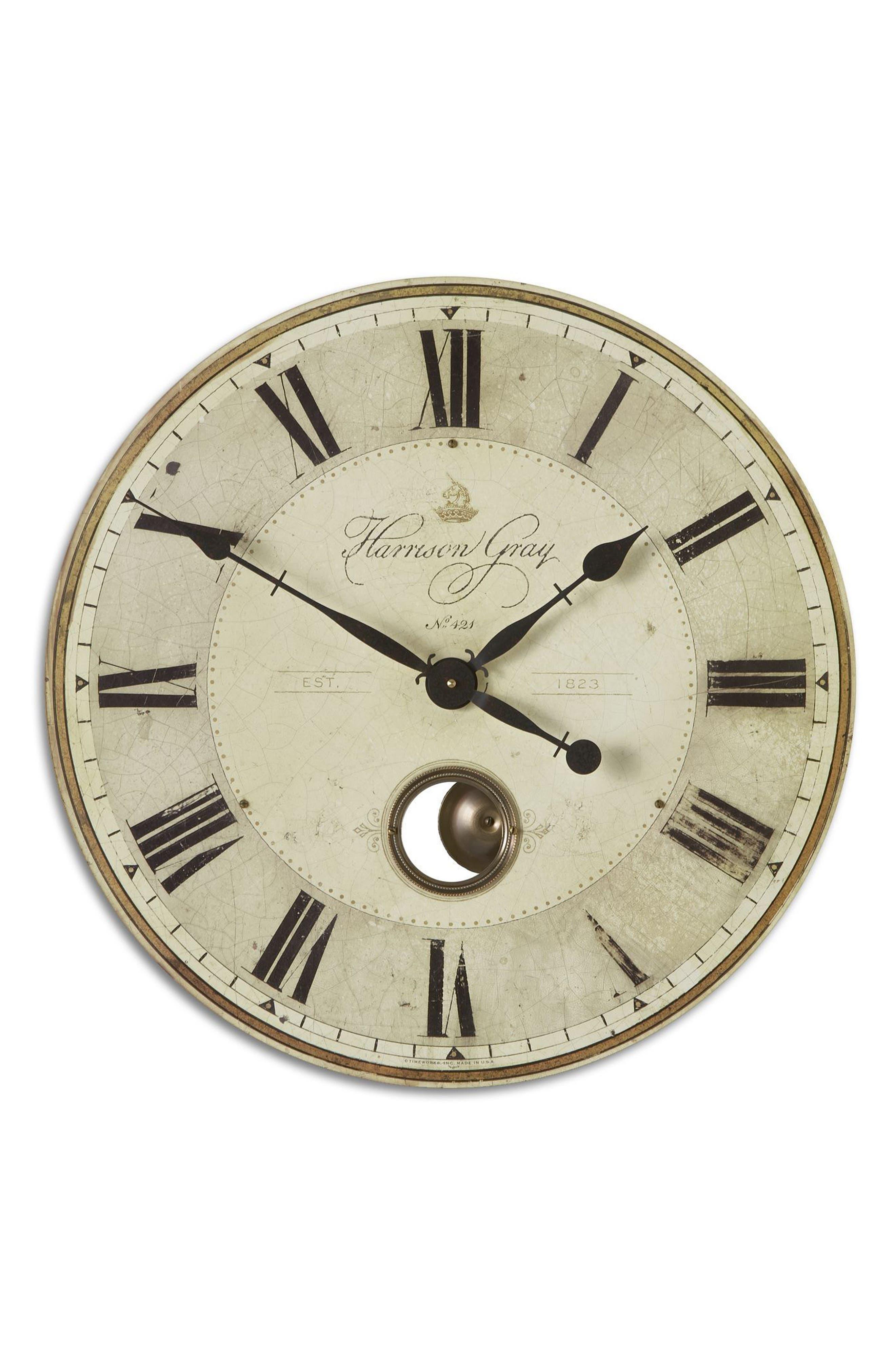 Harrison Gray Wall Clock,                             Main thumbnail 1, color,