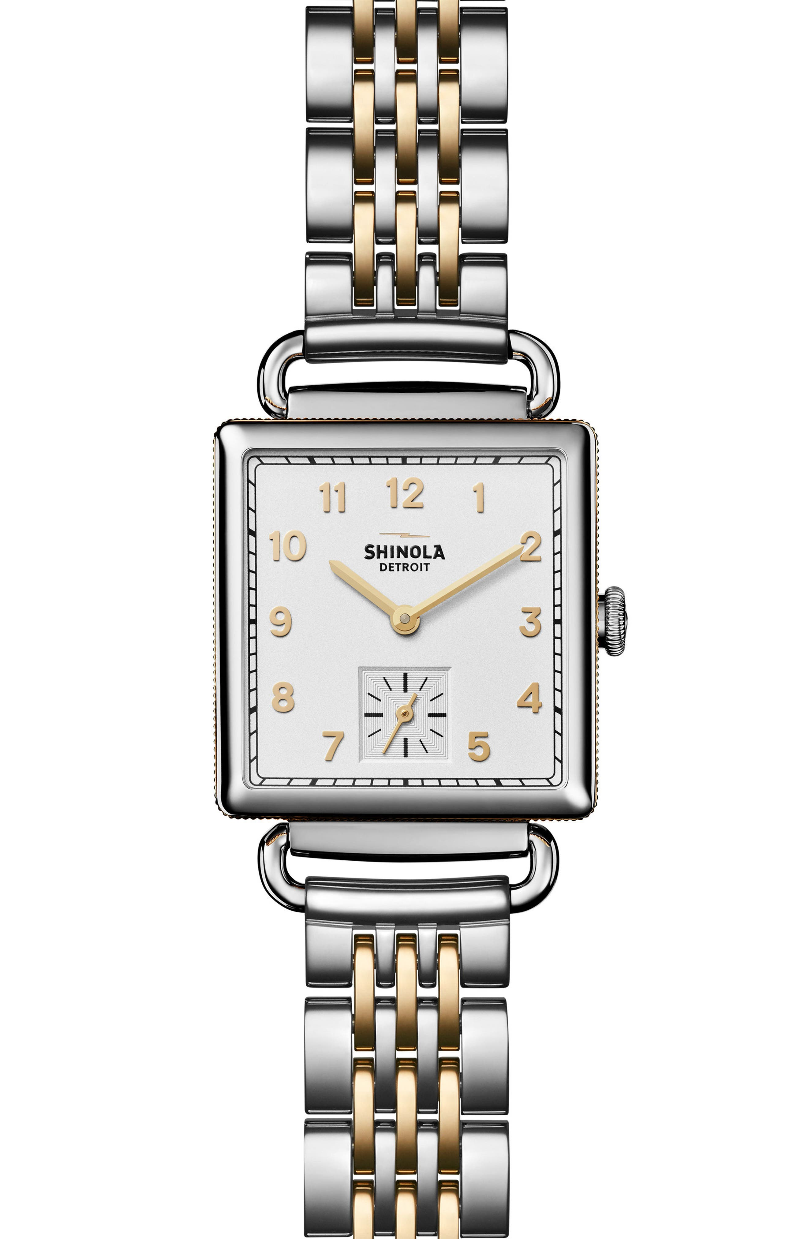 Cass Bracelet Watch, 27mm x 27mm,                         Main,                         color, SILVER/ WHITE/ GOLD