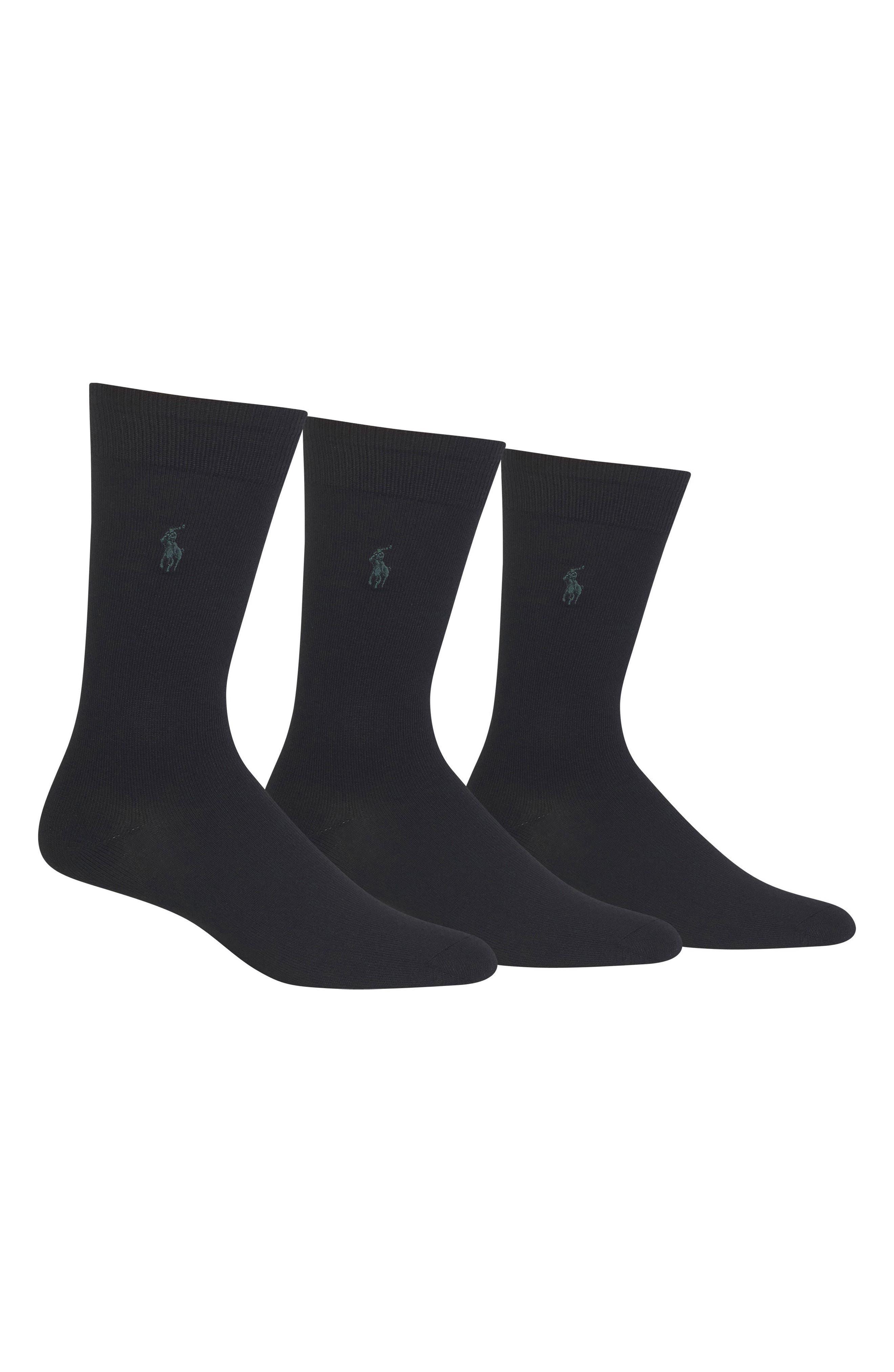 Assorted 3-Pack Supersoft Socks, Main, color, BLACK