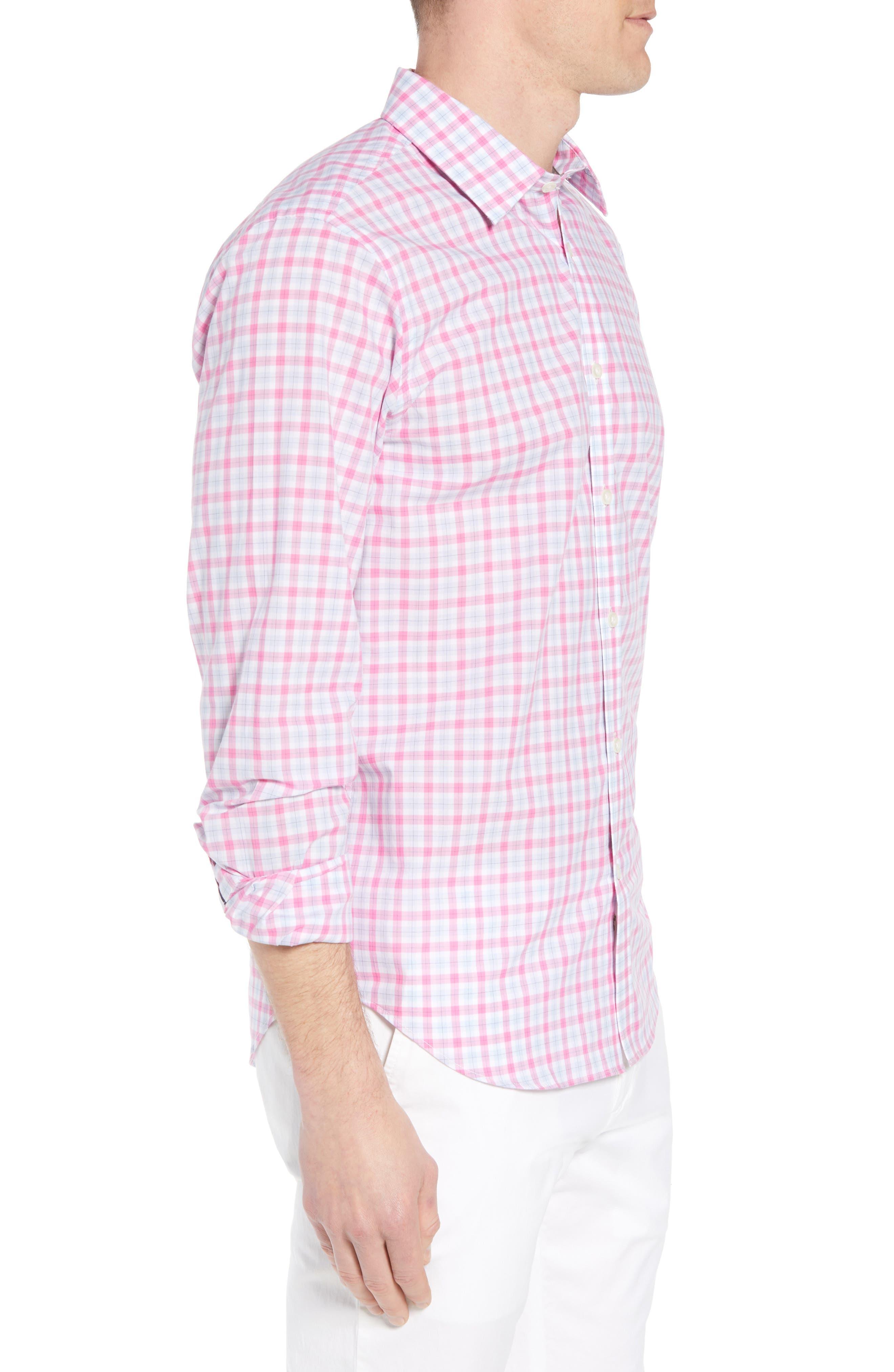 Slim Fit Grid Sport Shirt,                             Alternate thumbnail 3, color,                             MEDIUM PINK