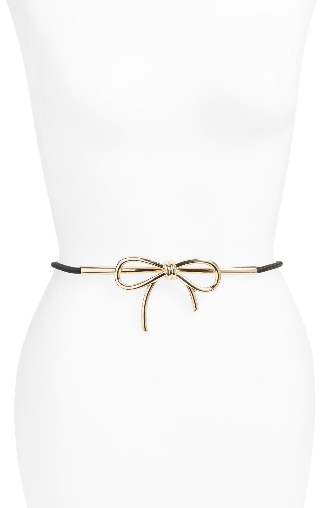 'Lucy' Brass Bow Belt,                             Main thumbnail 1, color,                             001