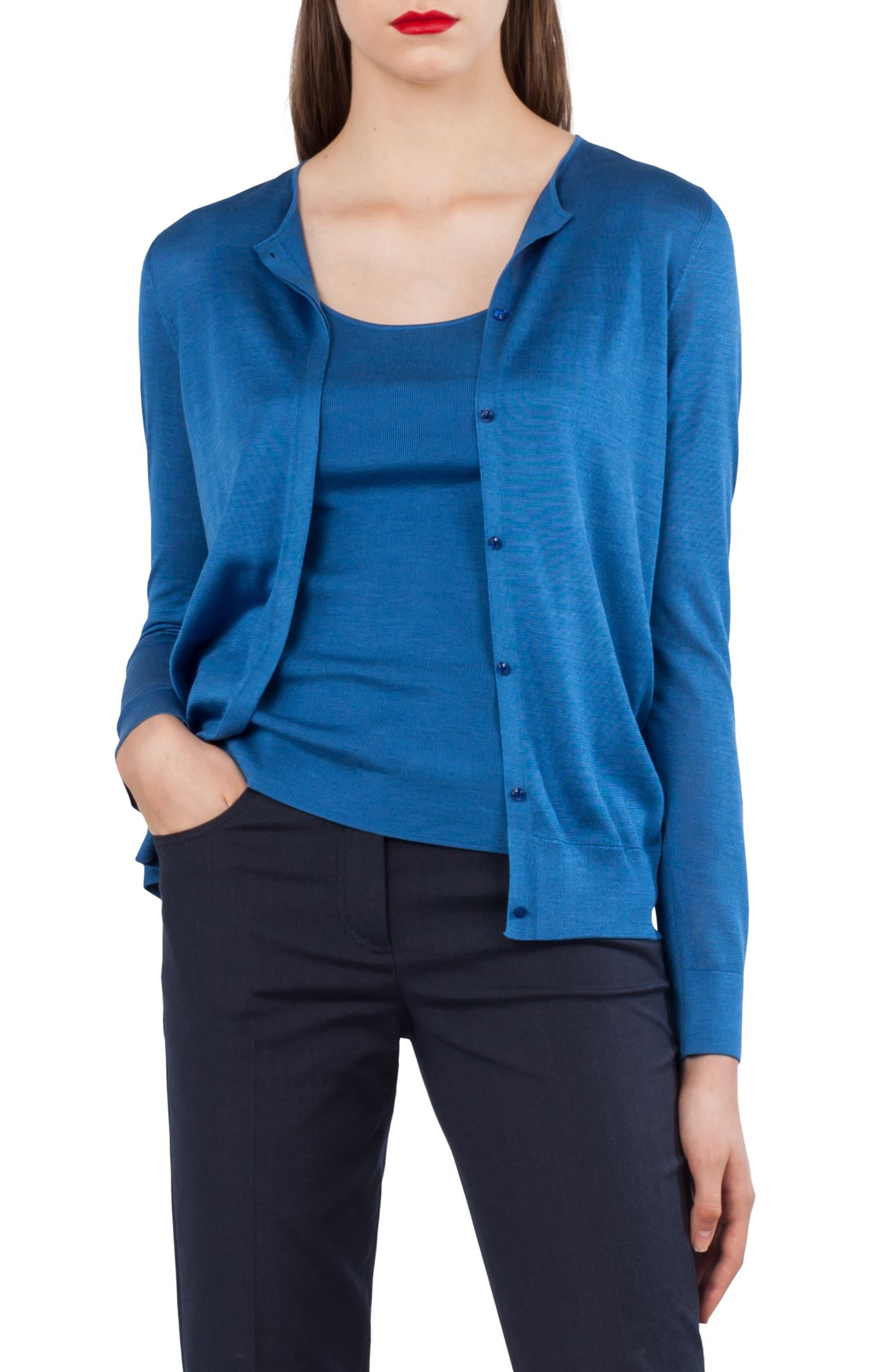 Silk Blend Intarsia Cardigan,                         Main,                         color, 400