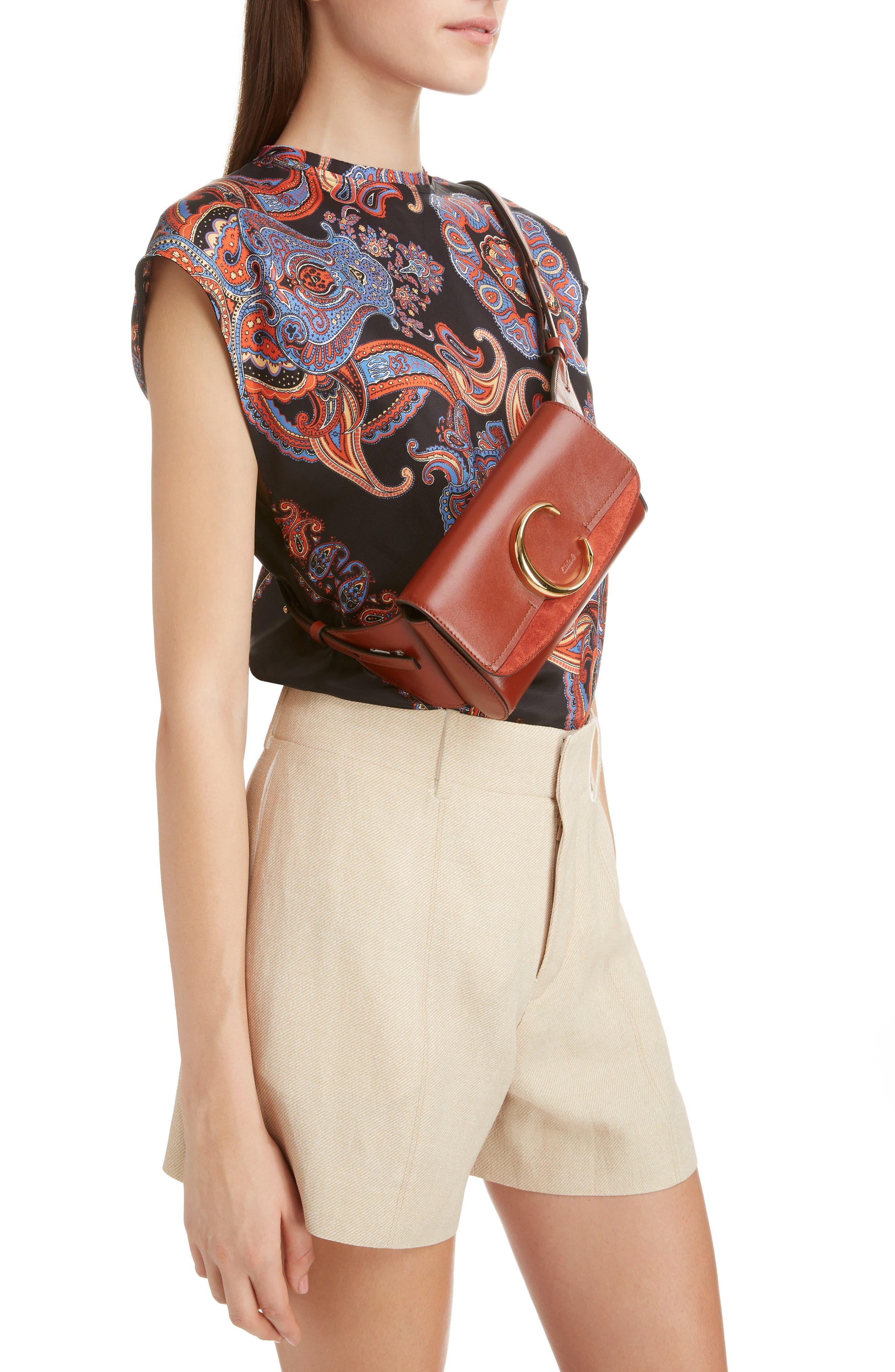 CHLOÉ,                             C Leather Convertible Belt Bag,                             Alternate thumbnail 2, color,                             SEPIA BROWN