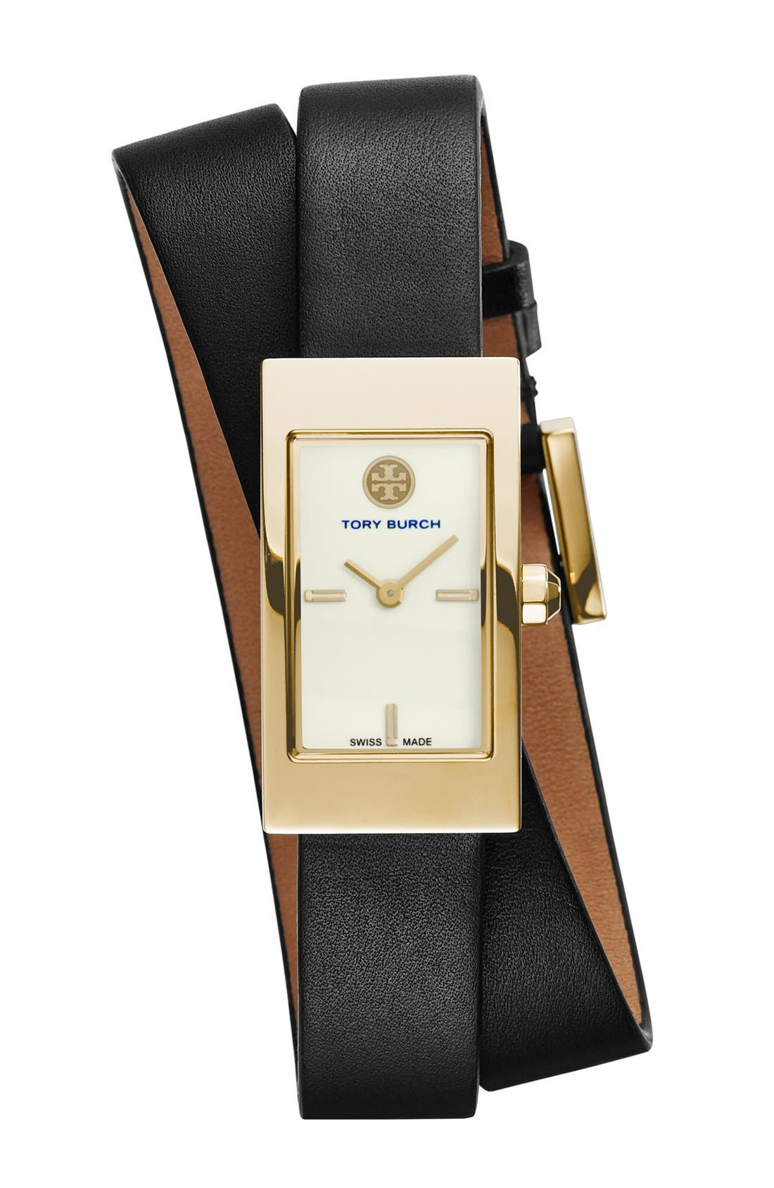 'Buddy Signature' Rectangular Wrap Leather Strap Watch, 17mm x 31mm,                             Main thumbnail 1, color,                             001