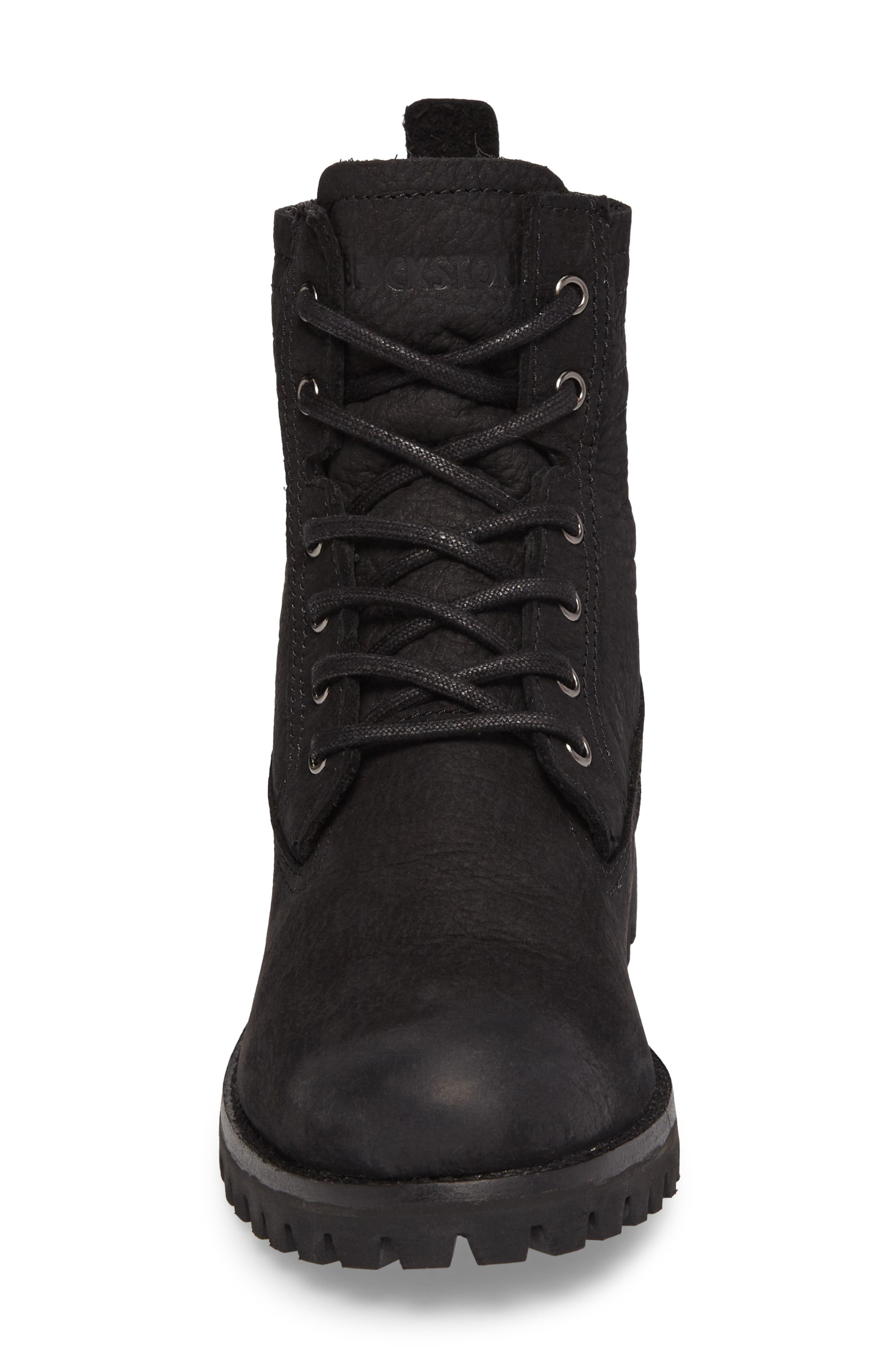 OL22 Lace-Up Boot with Genuine Shearling Lining,                             Alternate thumbnail 4, color,                             BLACK LEATHER