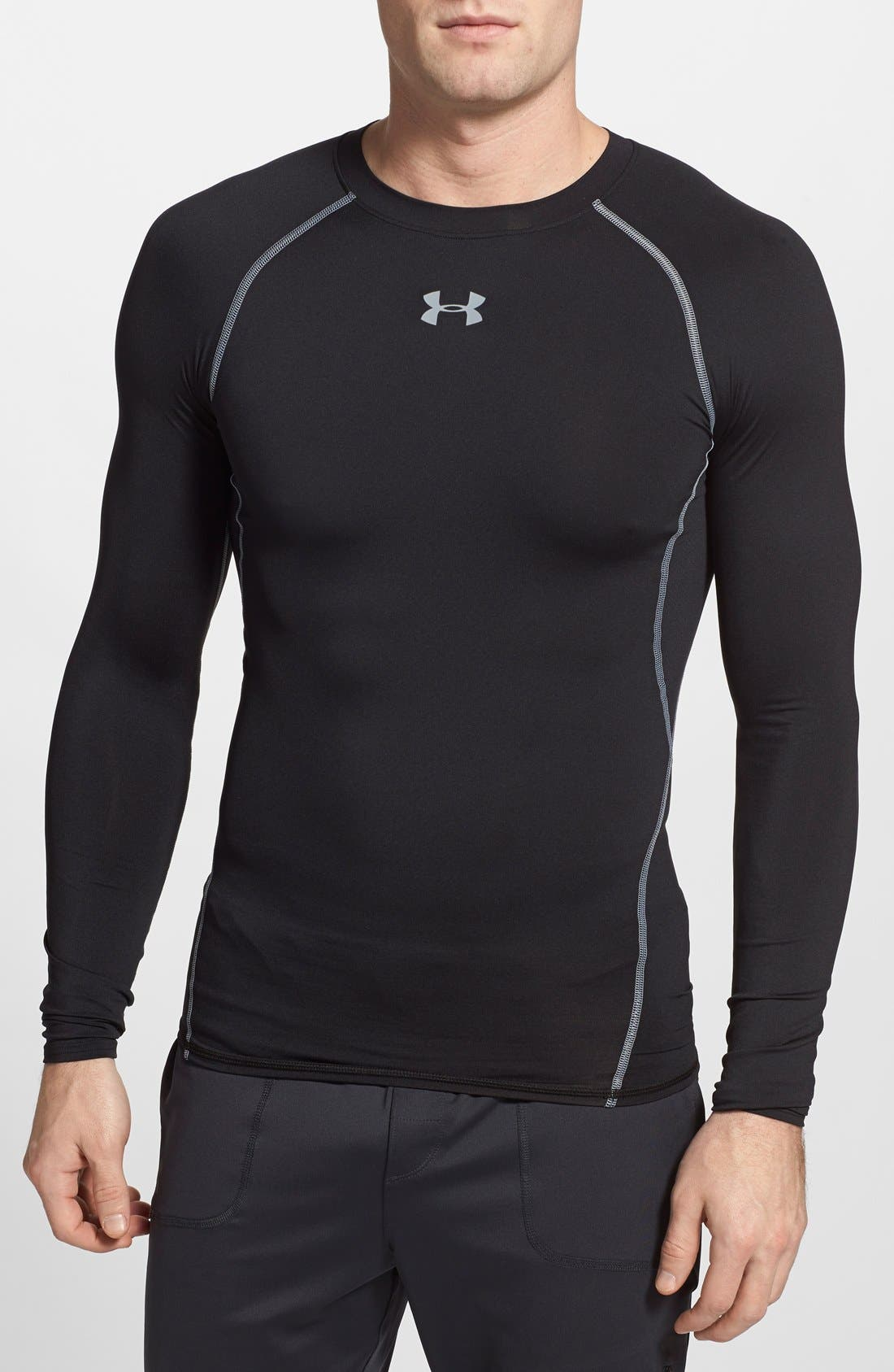 HeatGear<sup>®</sup> Compression Fit Long Sleeve T-Shirt,                             Main thumbnail 1, color,                             BLACK/ STEEL