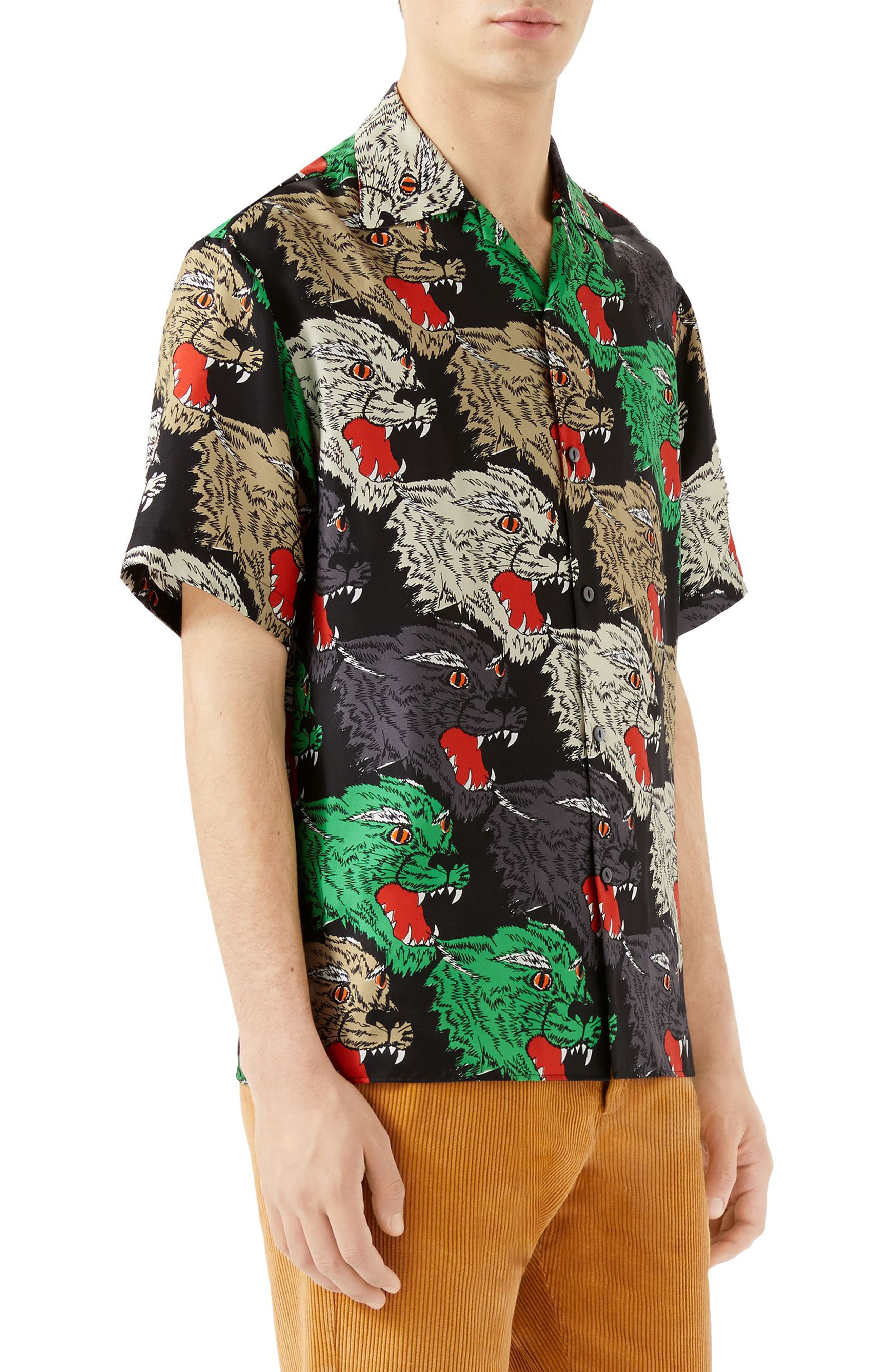 Allover Panther Print Silk Camp Shirt,                             Alternate thumbnail 3, color,                             BLACK