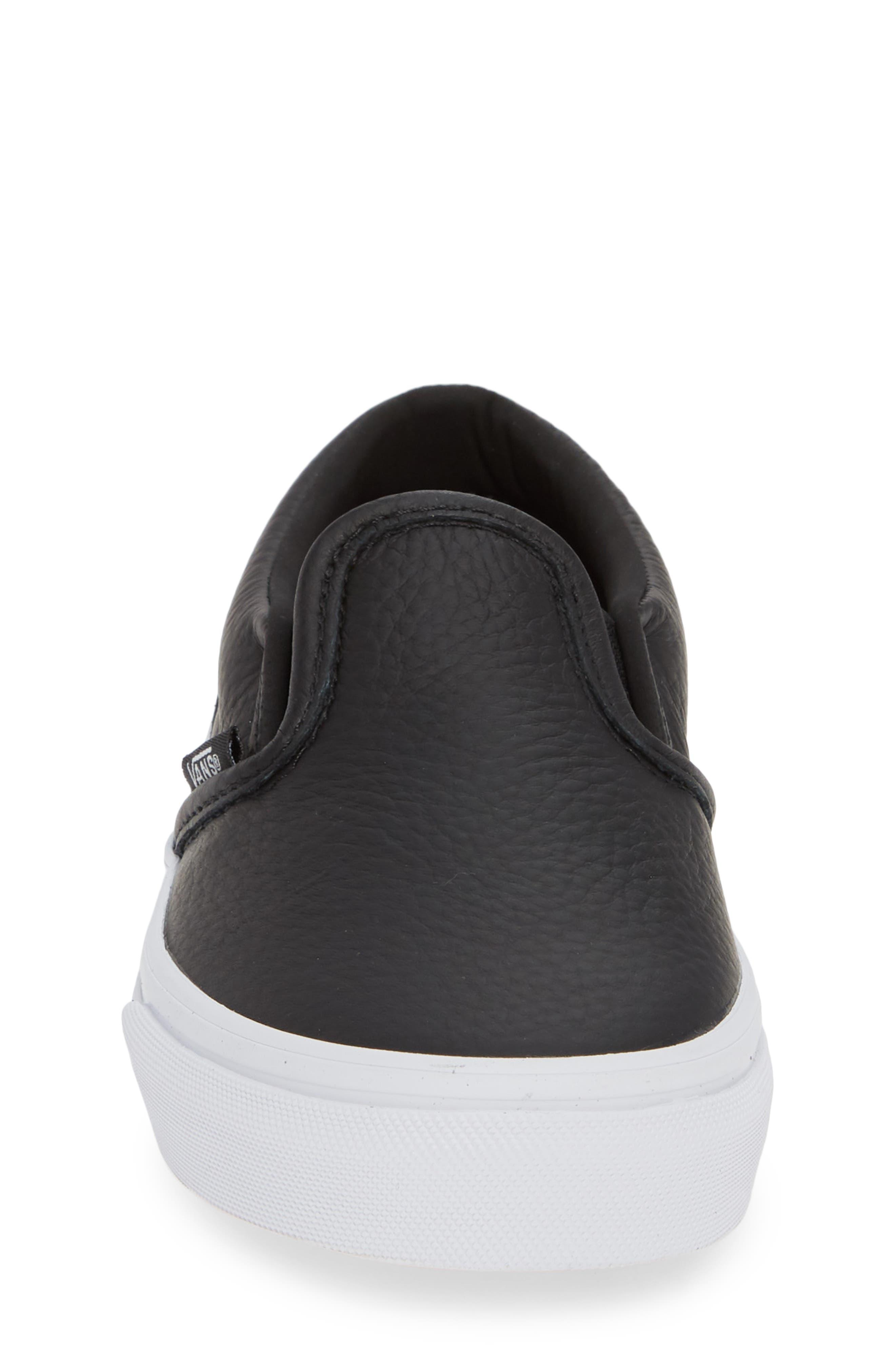 'Classic' Slip-On Sneaker,                             Alternate thumbnail 4, color,                             BLACK/ TRUE WHITE LEATHER