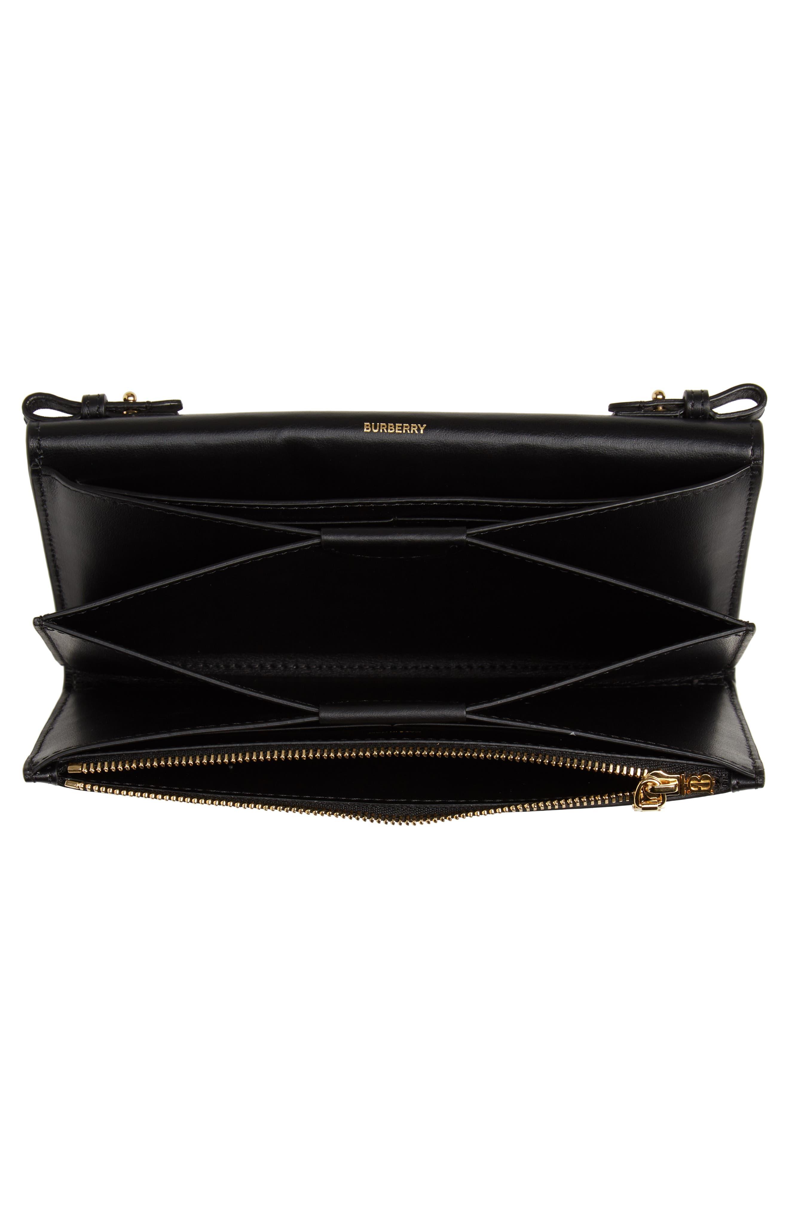 BURBERRY,                             Hazelmere Leather Crossbody Wallet,                             Alternate thumbnail 4, color,                             BLACK