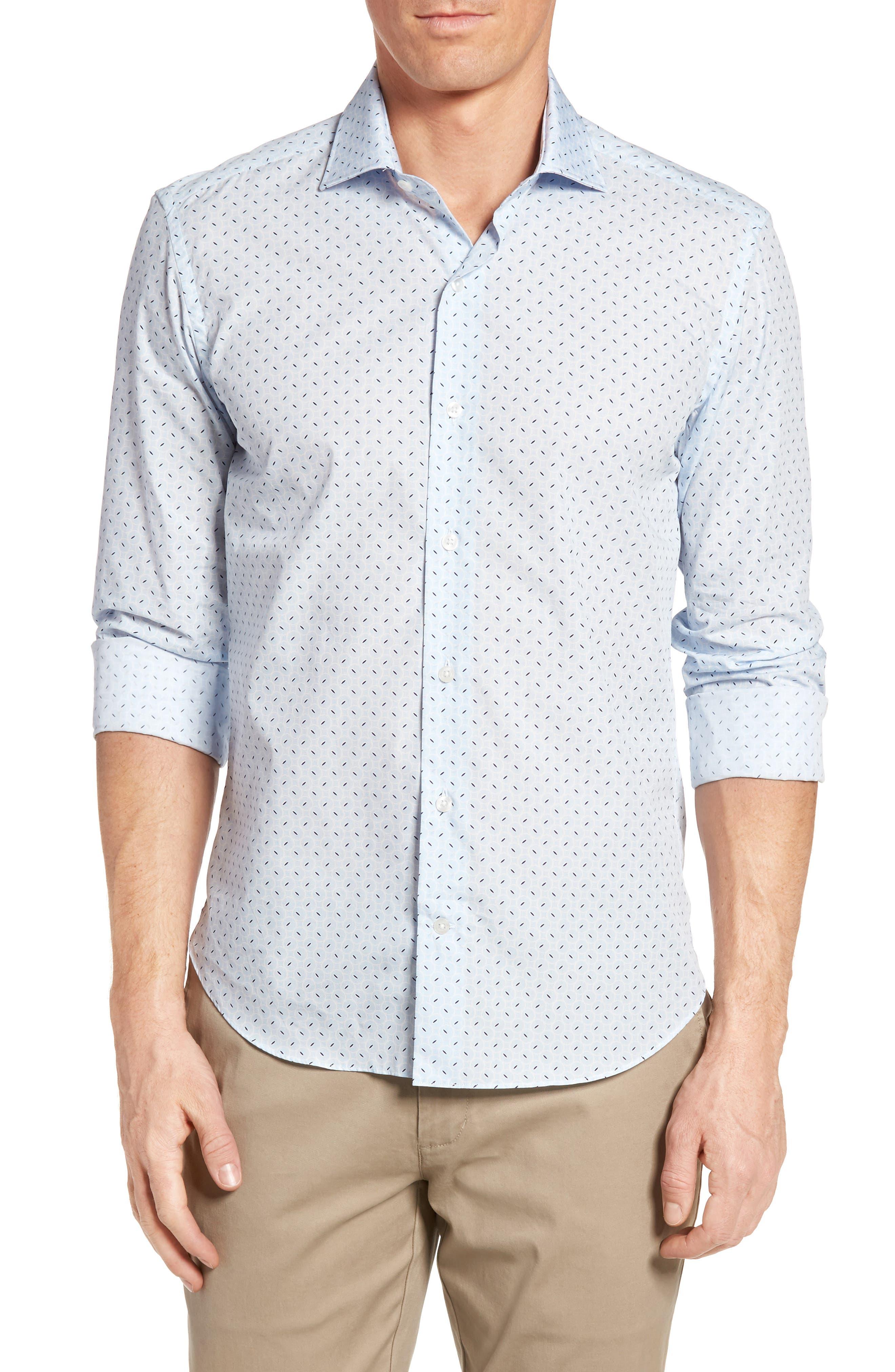 Slim Fit Retro Print Sport Shirt,                         Main,                         color, 400