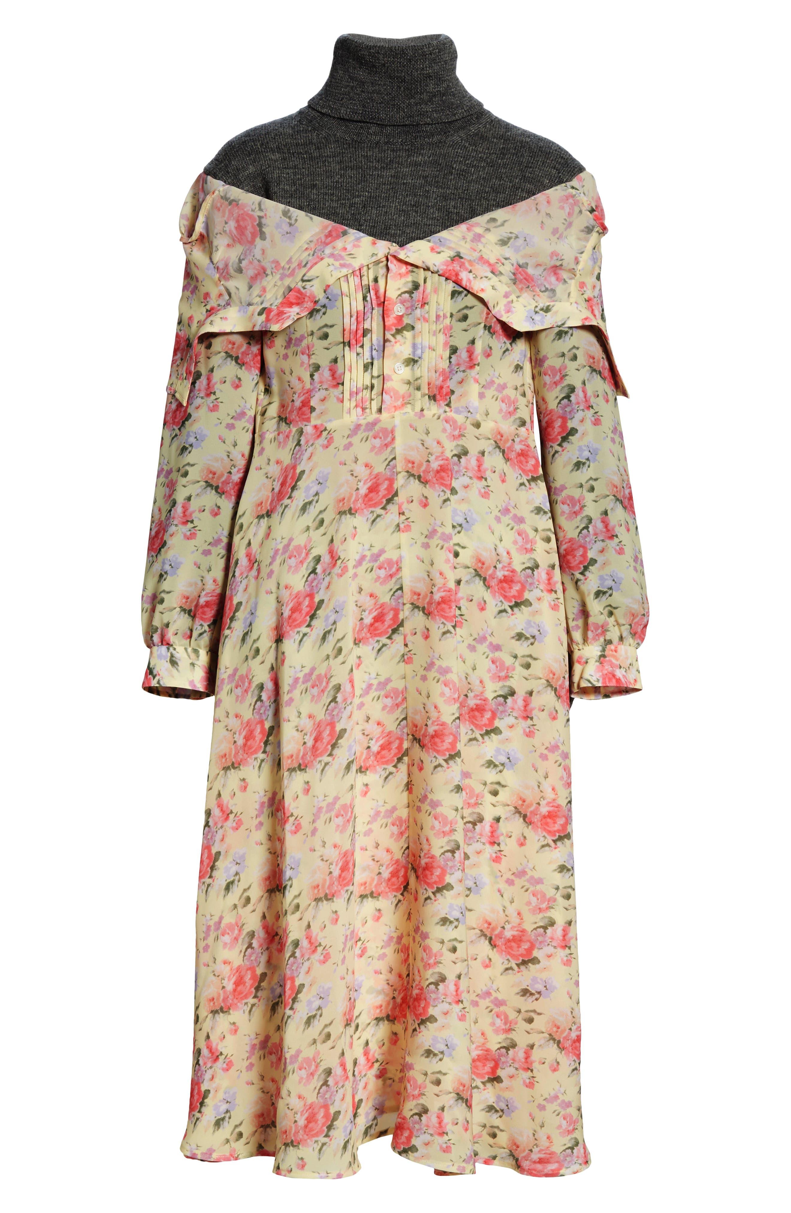 Mixed Media Floral Turtleneck Dress,                             Alternate thumbnail 7, color,                             YELLOW/ PINK/ PPL/ GREY