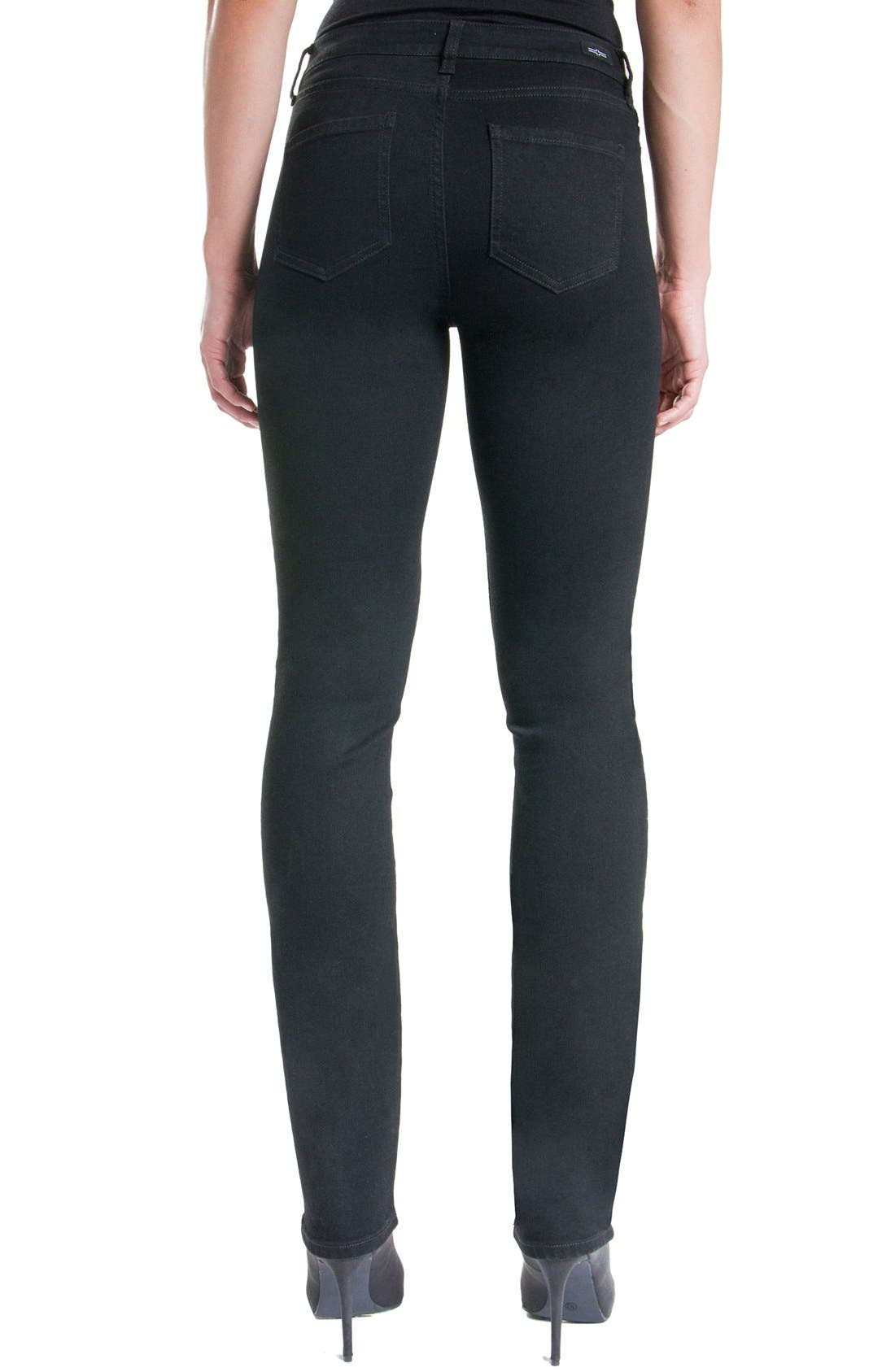 Sadie Mid Rise Stretch Straight Jeans,                             Alternate thumbnail 4, color,                             BLACK RINSE