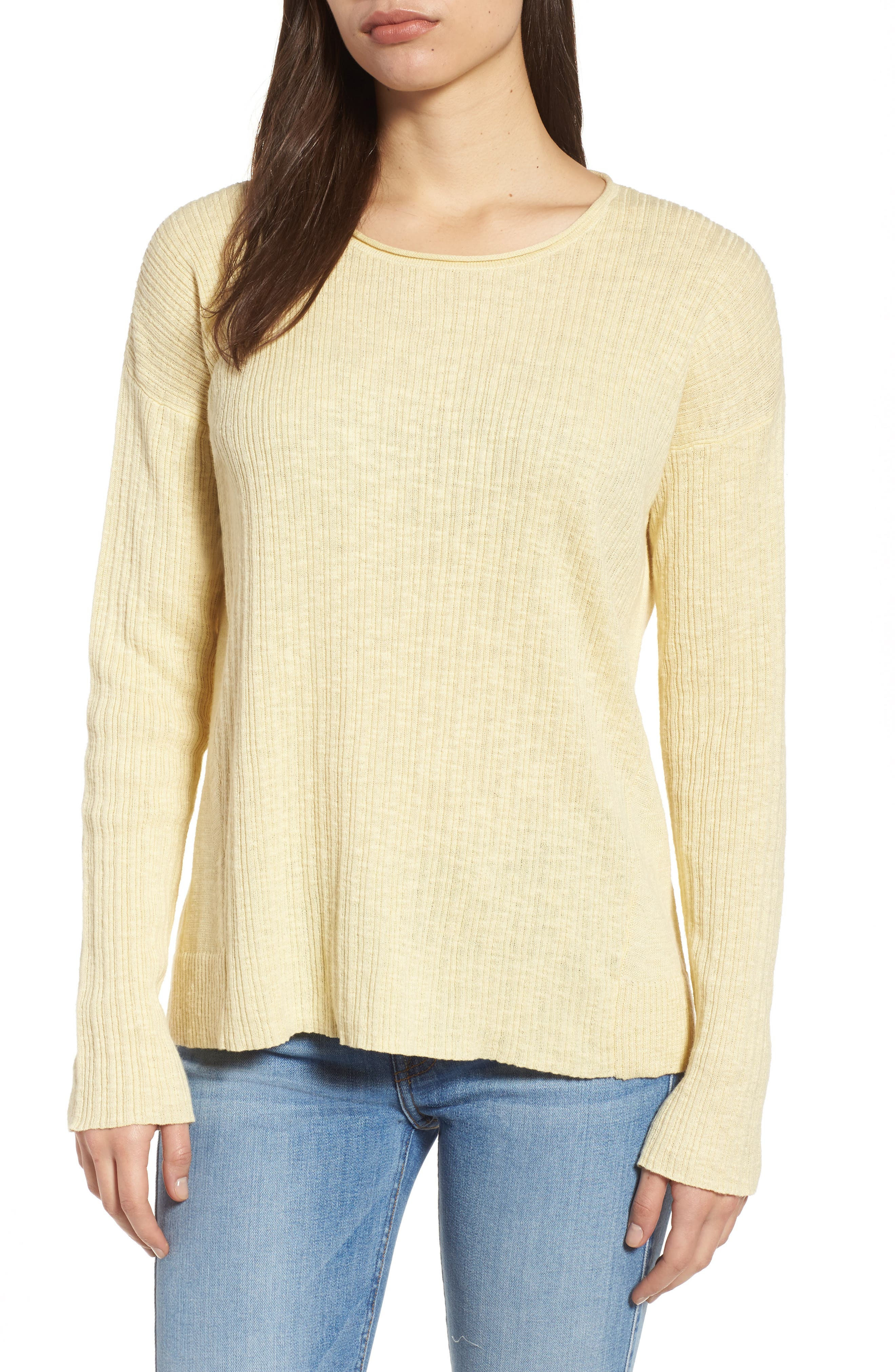 Organic Linen & Cotton Crewneck Sweater,                             Main thumbnail 2, color,