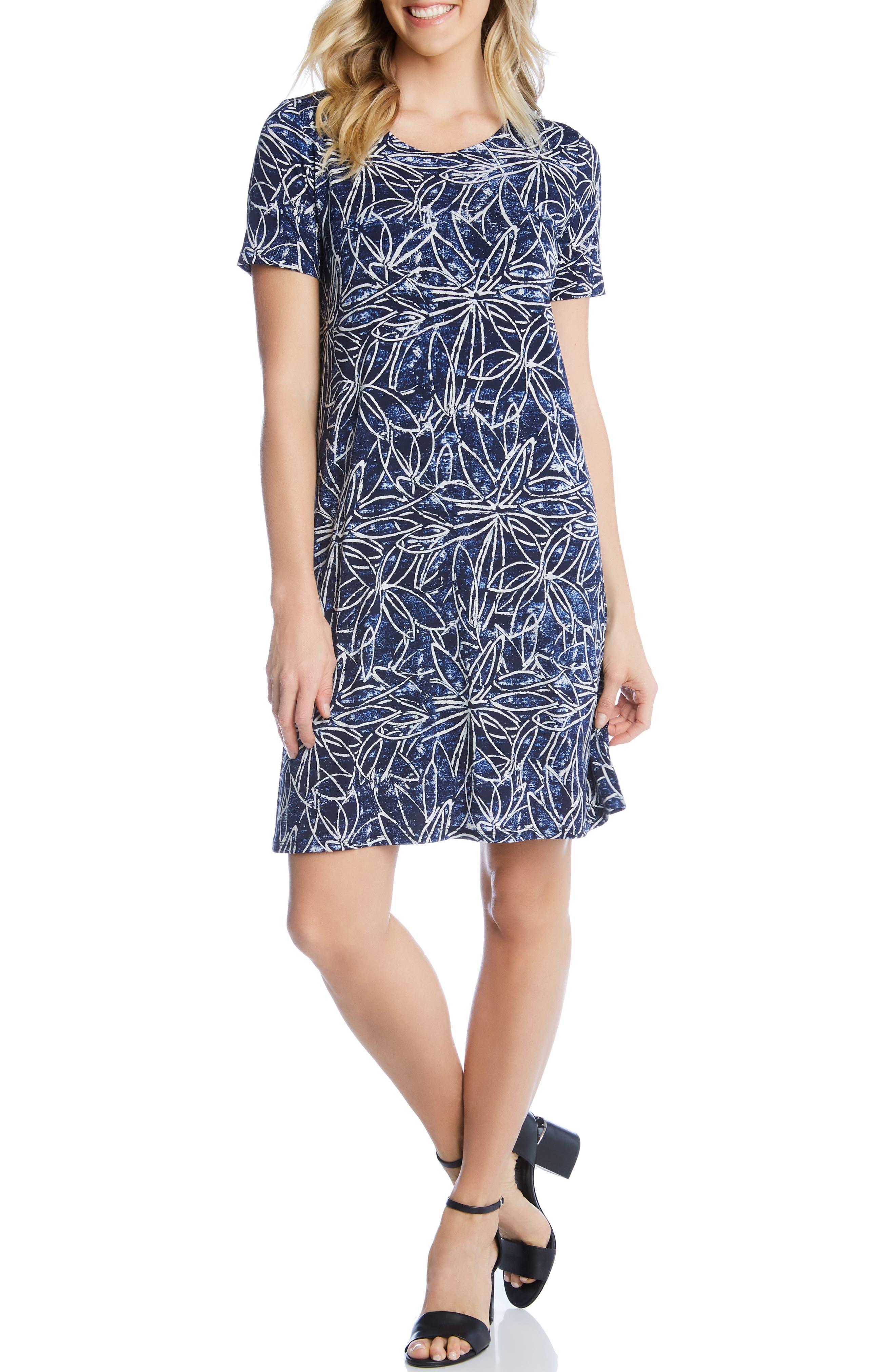 Karen Kane Floral Print Shift Dress, Blue