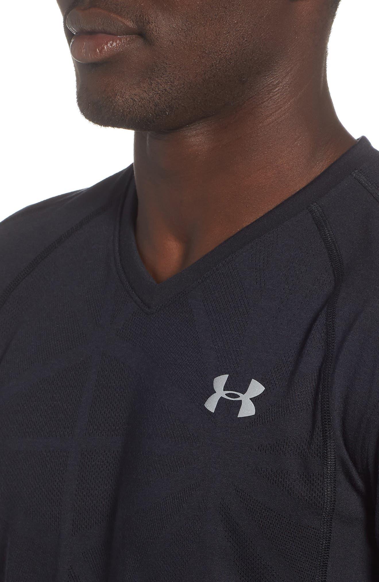 Microthread Swyft V-Neck T-Shirt,                             Alternate thumbnail 4, color,                             BLACK/ BLACK/ REFLECTIVE