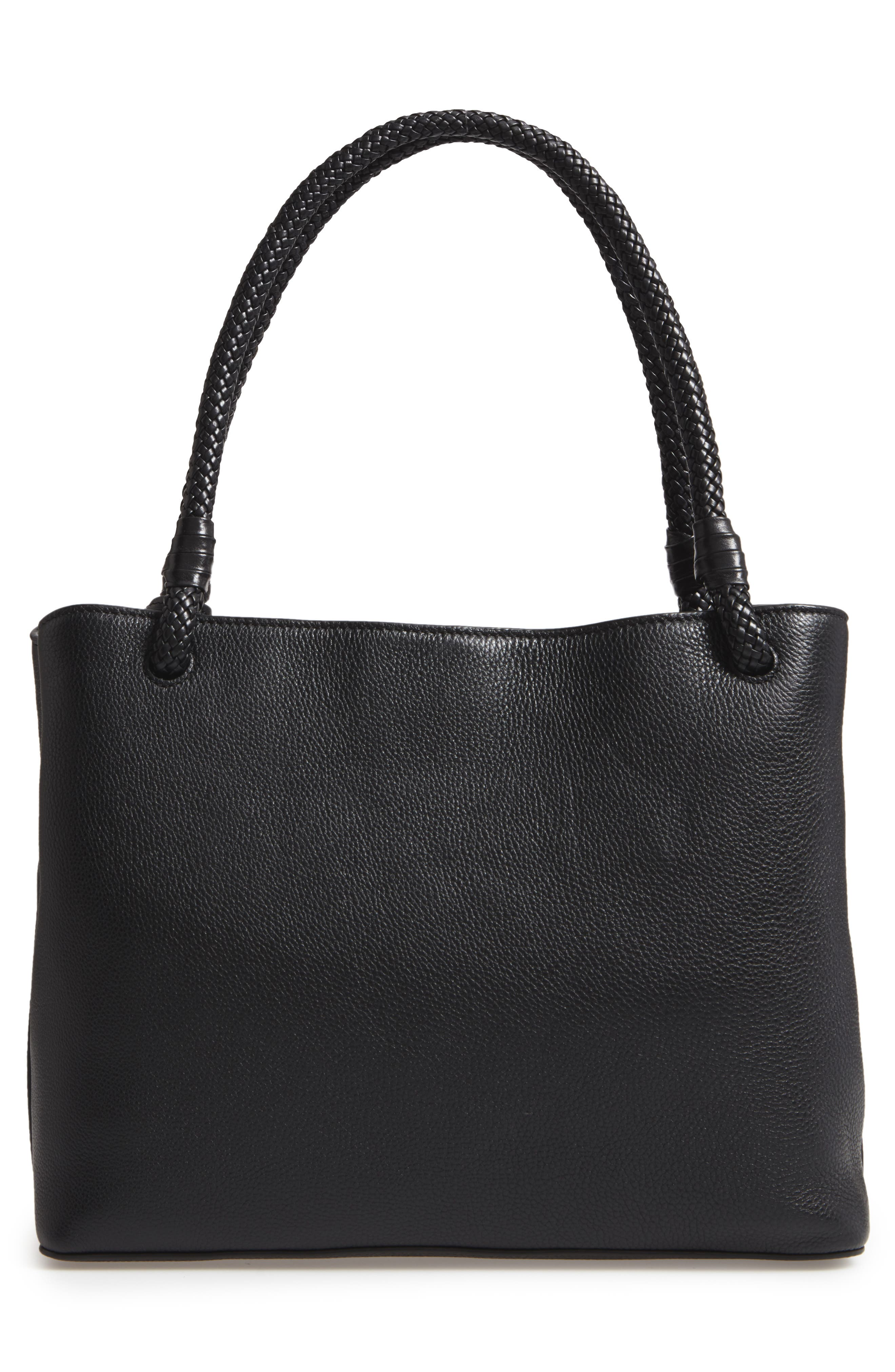 Taylor Triple-Compartment Leather Tote,                             Alternate thumbnail 3, color,                             001