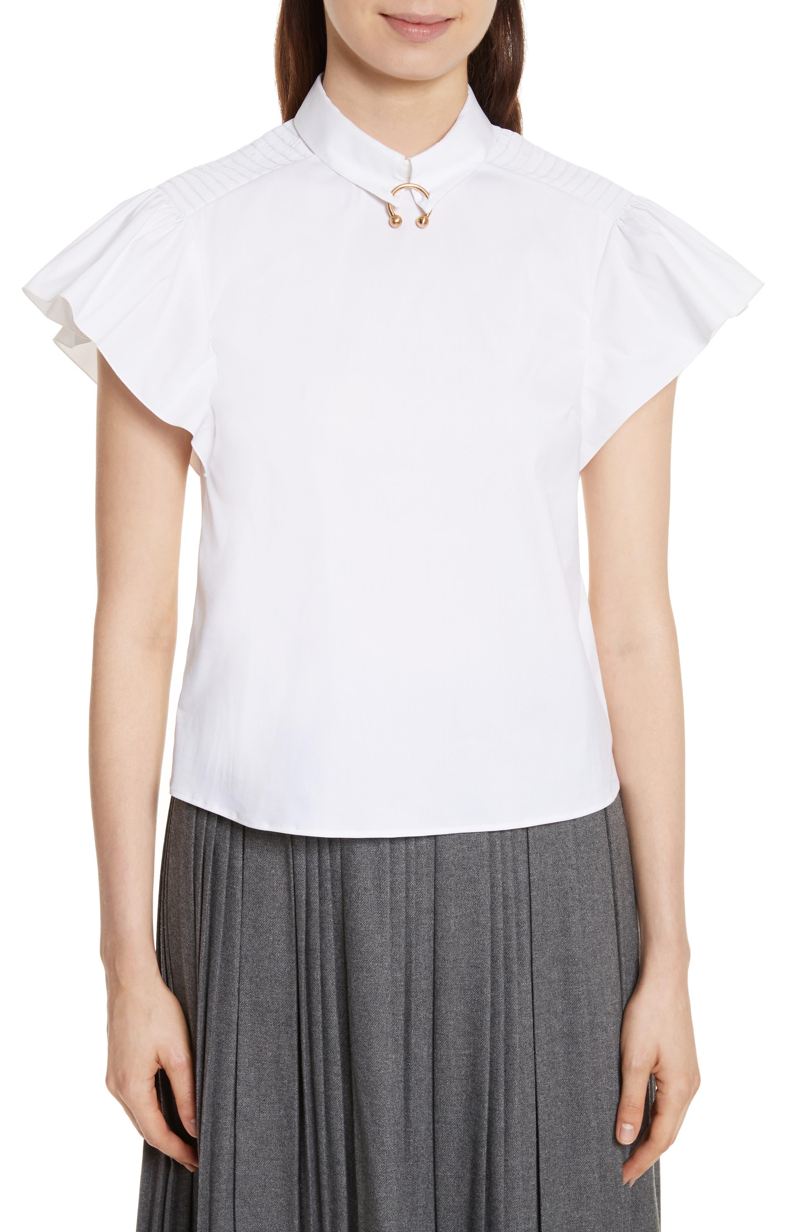 Pierced Cotton Poplin Shirt,                         Main,                         color, 100