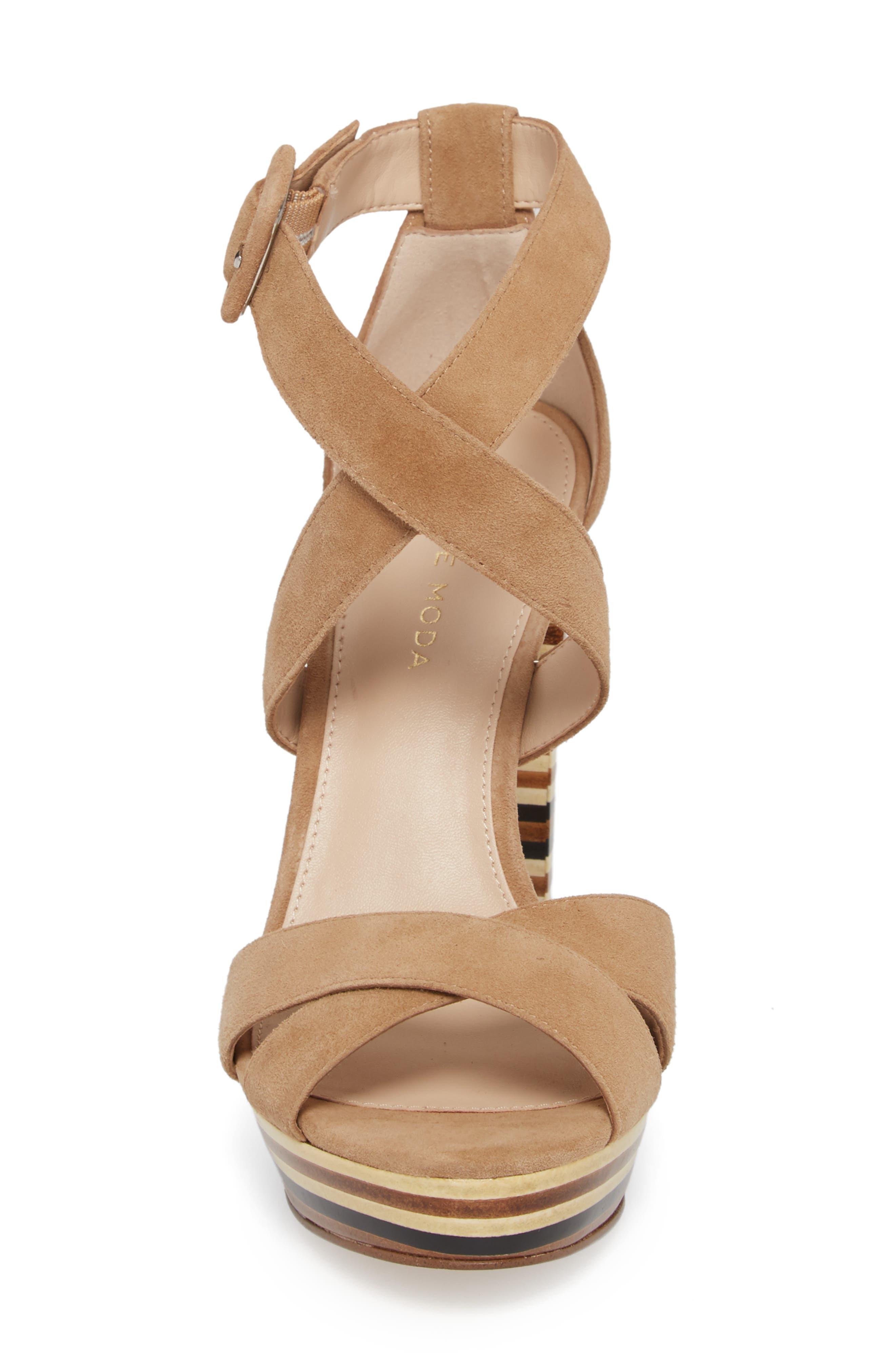 Panama Platform Sandal,                             Alternate thumbnail 4, color,                             LATTE SUEDE