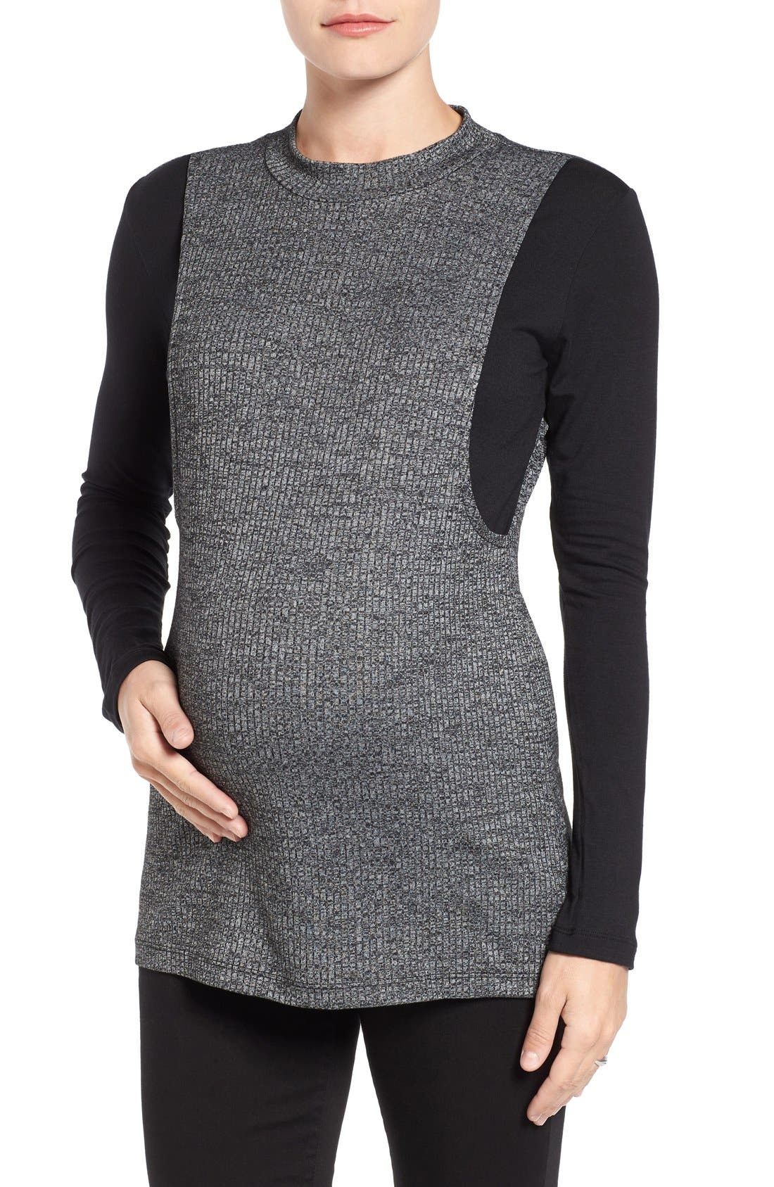 'Brie' Colorblock Maternity/Nursing Sweater,                             Main thumbnail 1, color,                             CHARCOAL/ BLACK