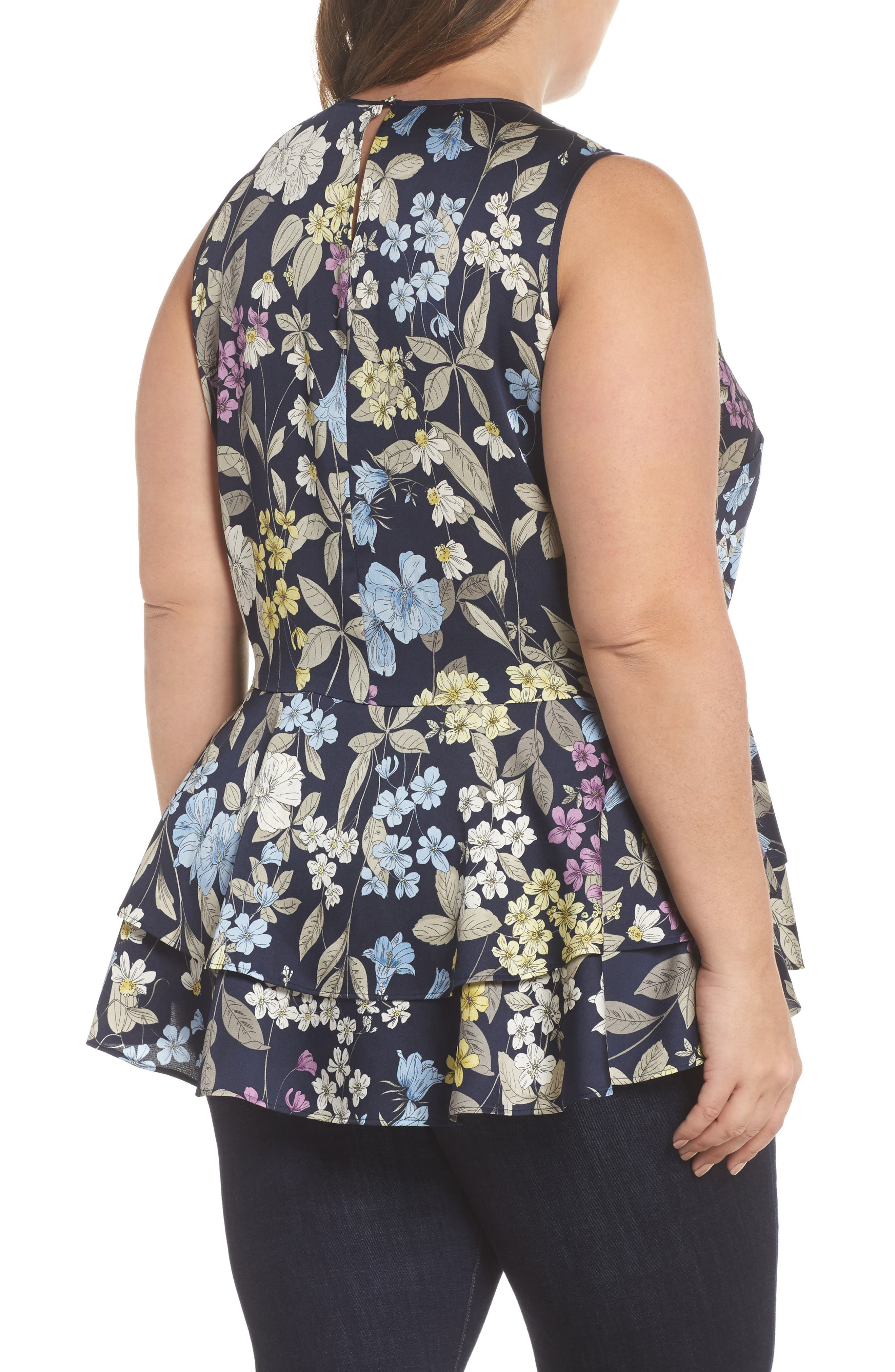 Country Floral Ruffle Hem Top,                             Alternate thumbnail 2, color,                             485