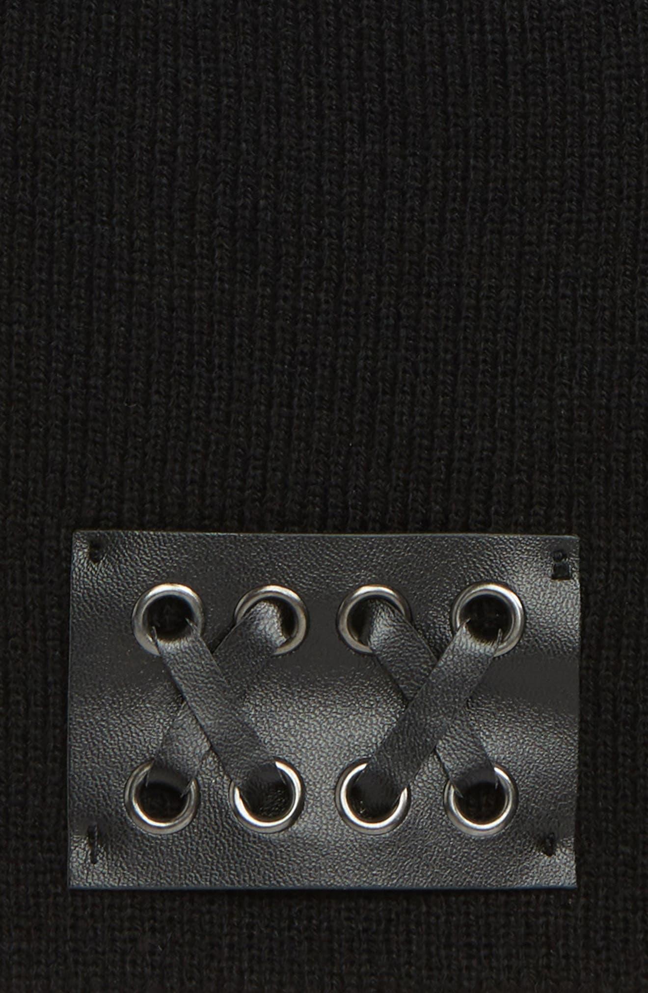 Faux Leather Patch Knit Beanie,                             Alternate thumbnail 2, color,                             BLACK