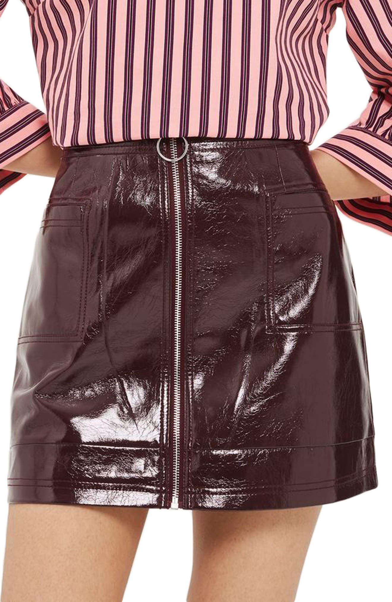 Zip Through Cracked Vinyl Miniskirt,                             Main thumbnail 3, color,
