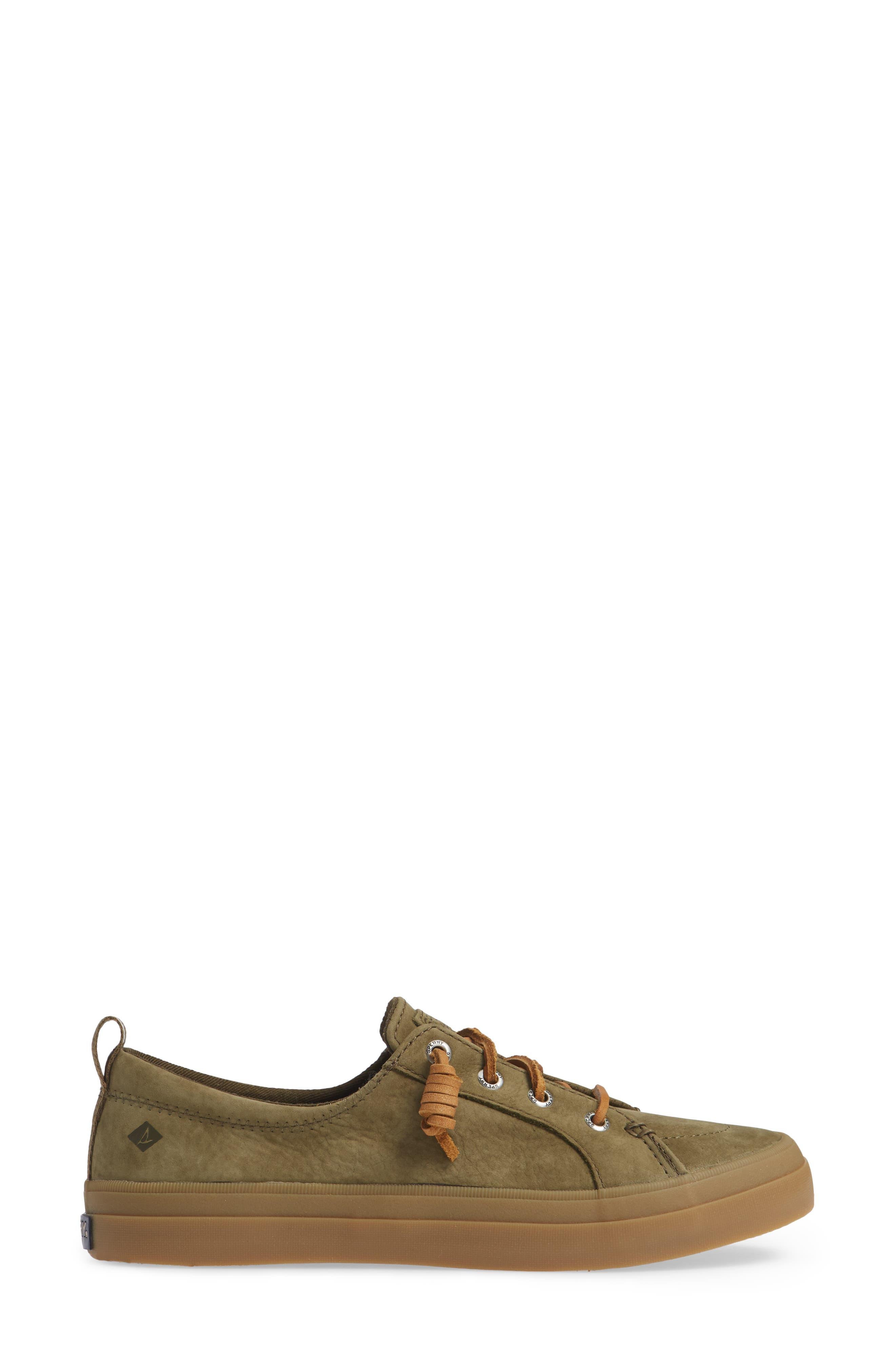 Crest Vibe Sneaker,                             Alternate thumbnail 3, color,                             OLIVE LEATHER