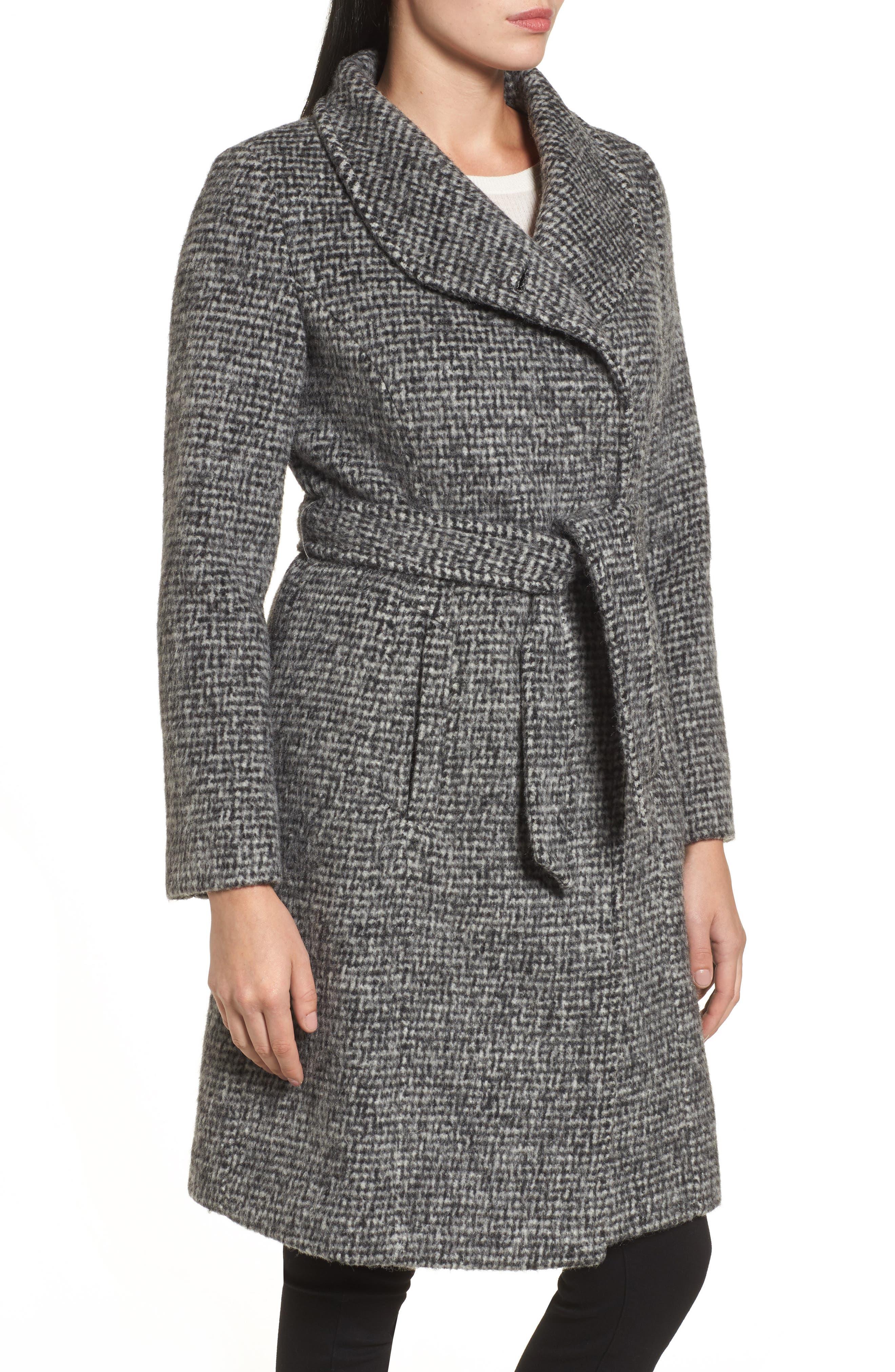 Wool Shawl Collar Wrap Coat,                             Alternate thumbnail 3, color,                             012