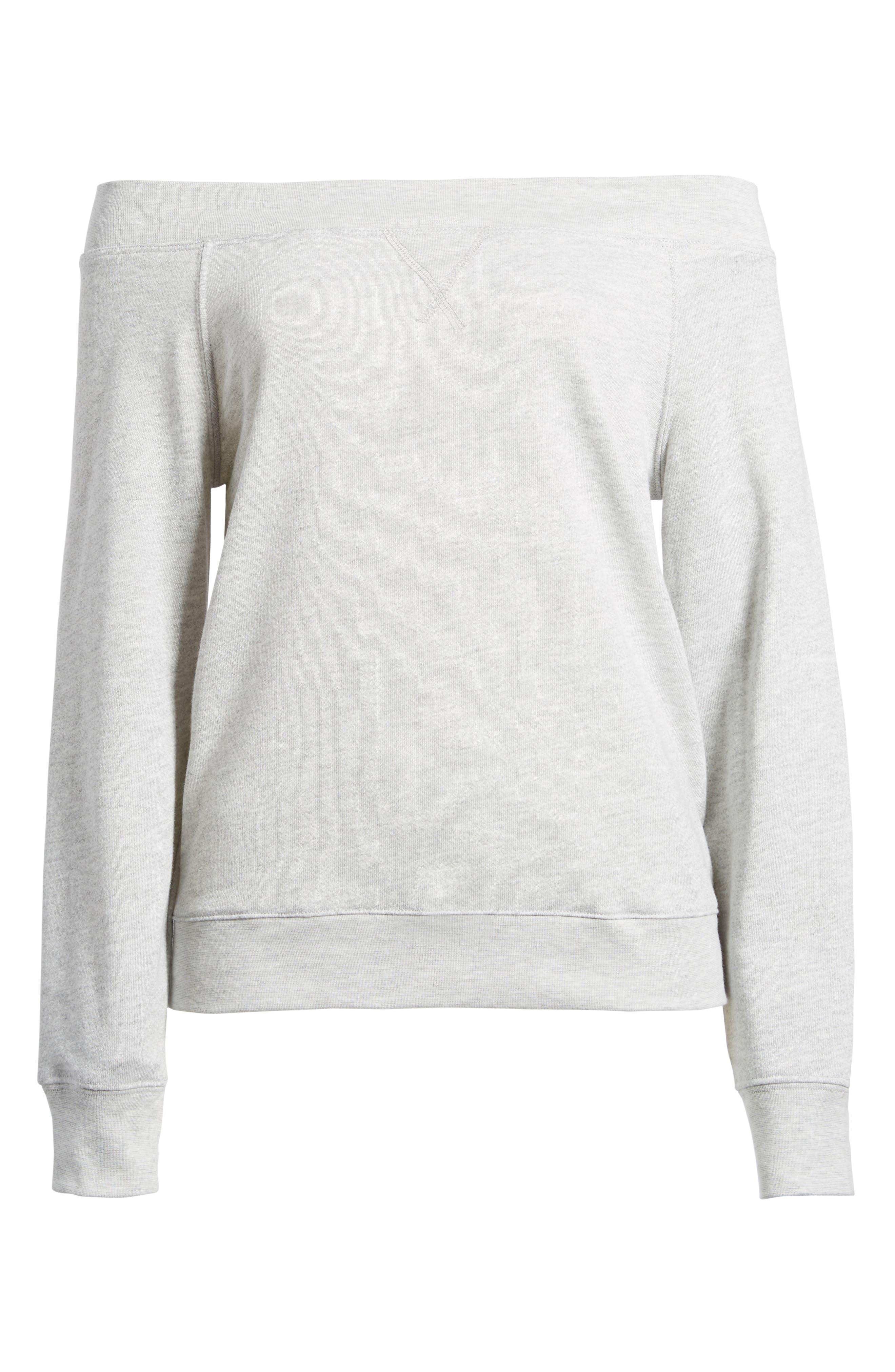 Off the Shoulder Sweatshirt,                             Alternate thumbnail 6, color,                             020