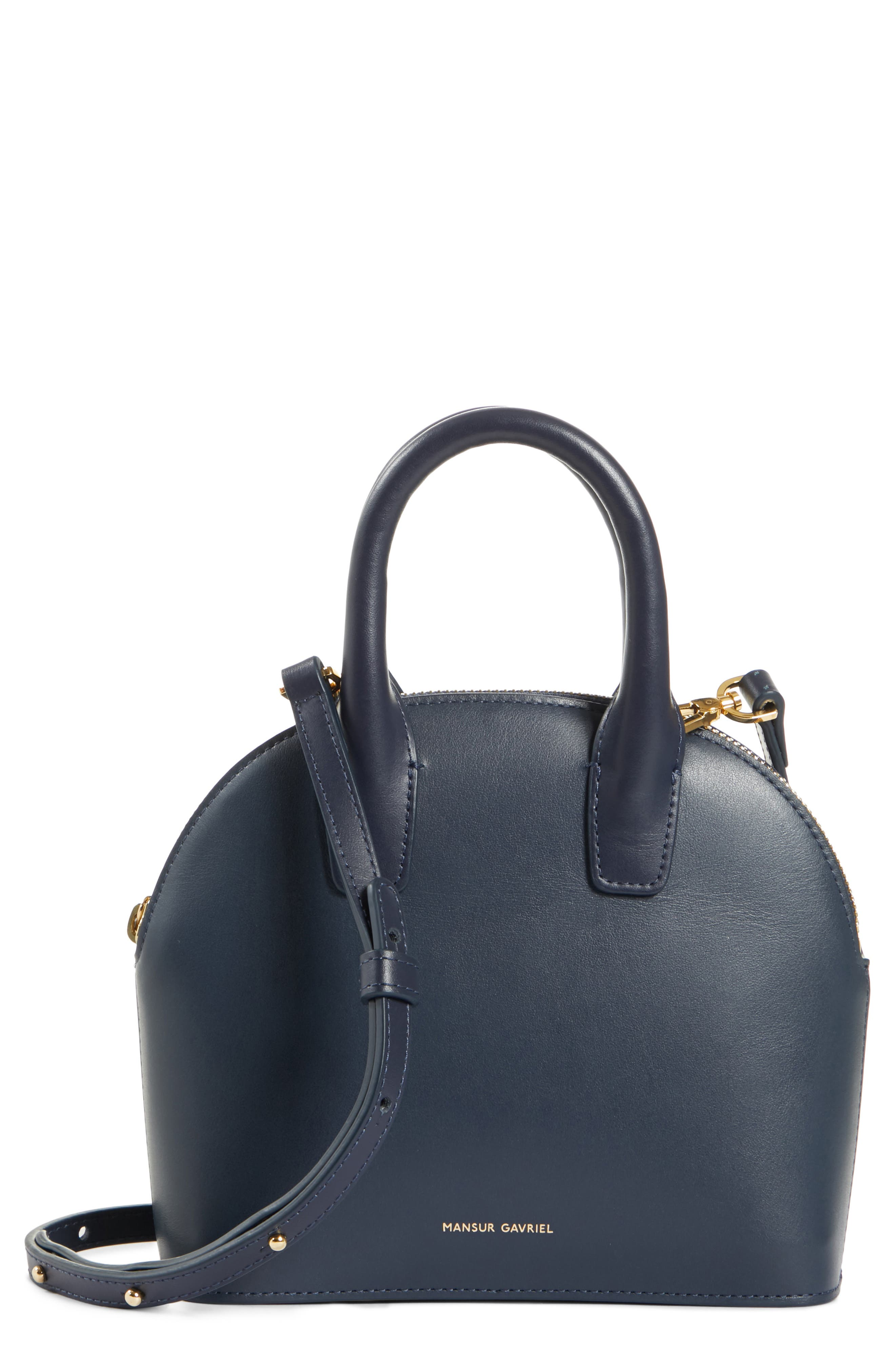 Mini Top Handle Rounded Leather Bag, Main, color, BLU