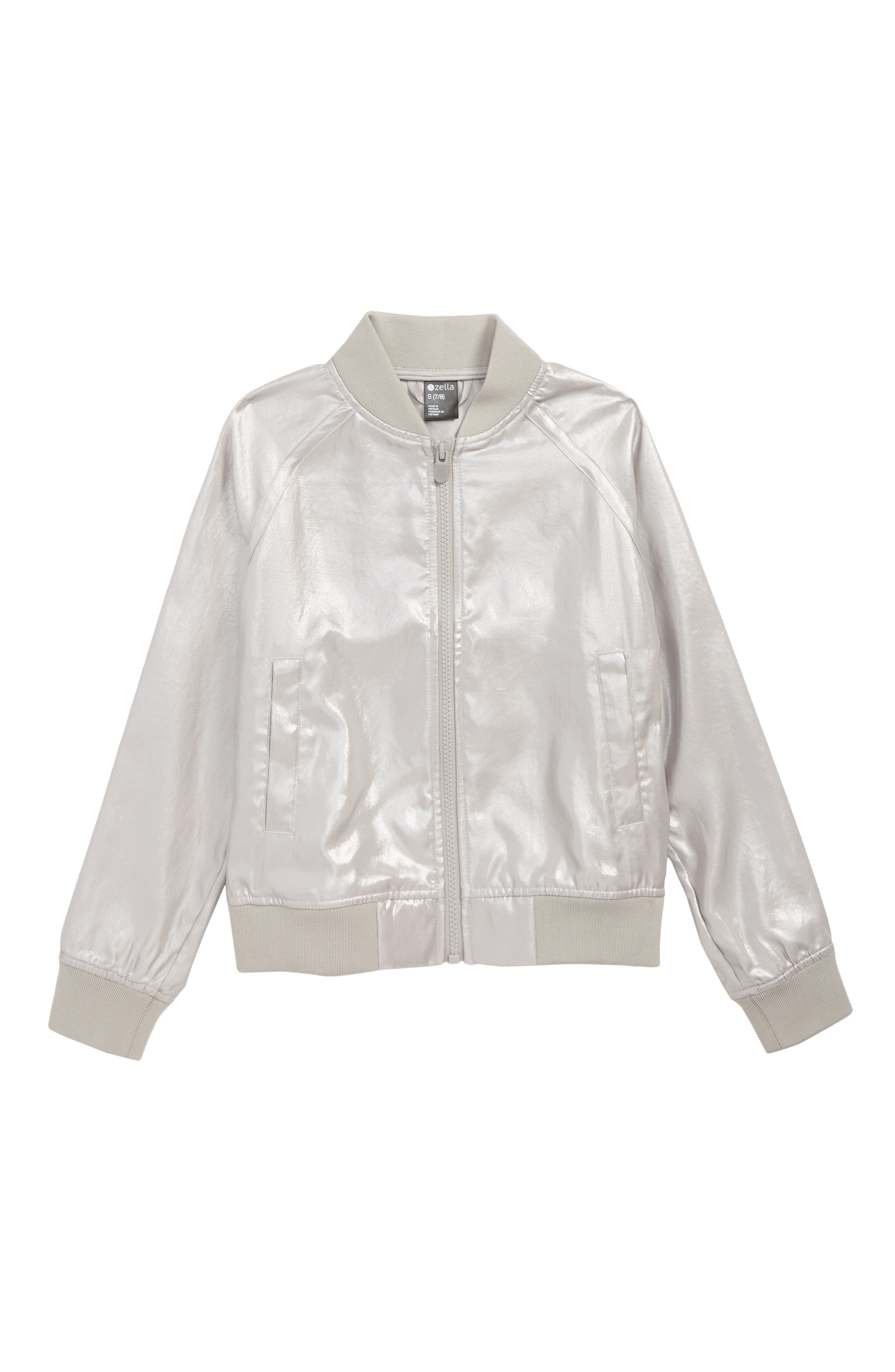 Shine Metallic Bomber Jacket,                             Main thumbnail 1, color,                             SILVER METALLIC