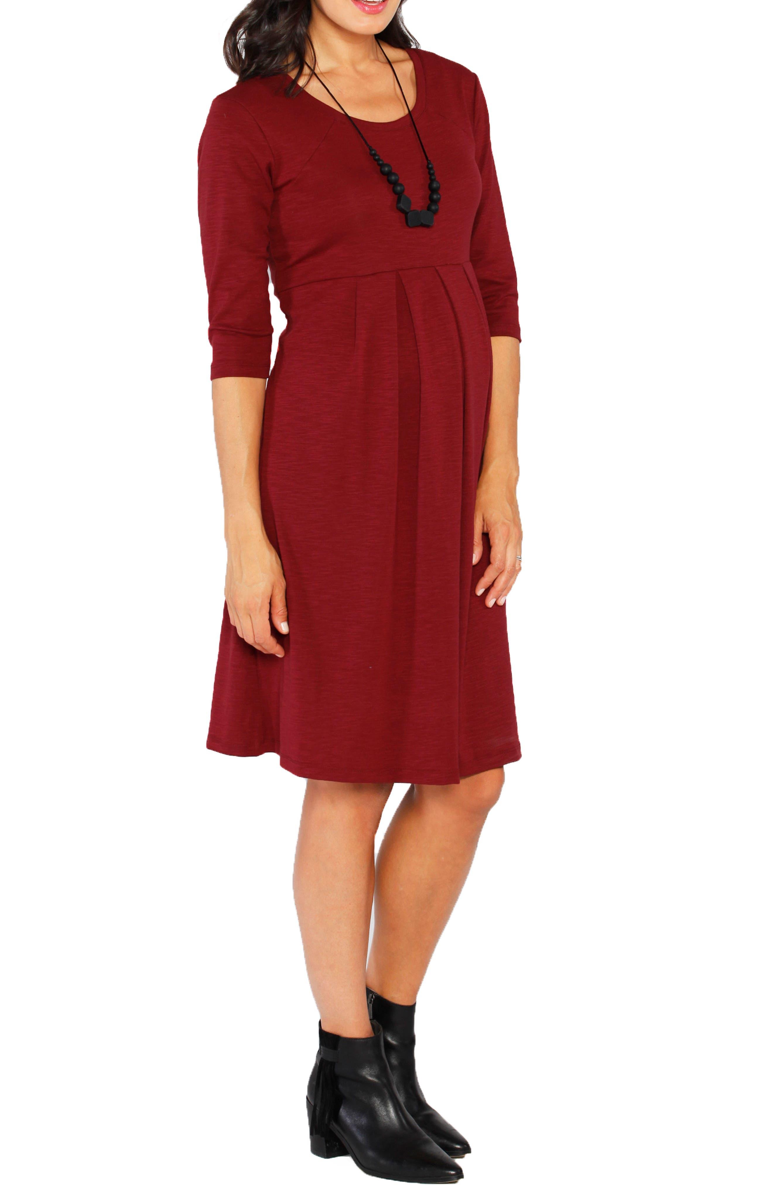Stretch Jersey Maternity Dress,                             Alternate thumbnail 3, color,                             600