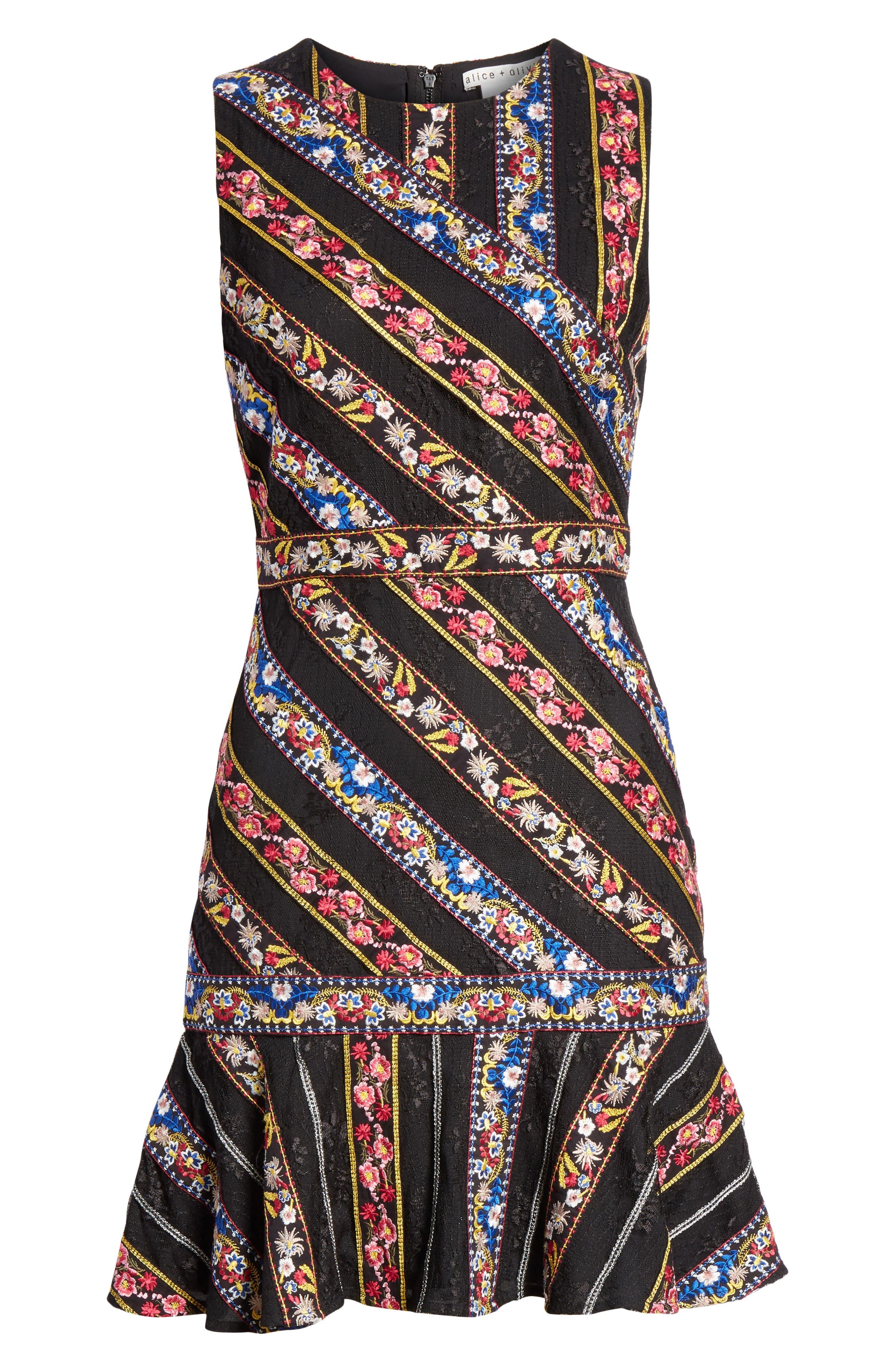 Imani Embroidered Fit & Flare Dress,                             Alternate thumbnail 6, color,                             BLACK/ MULTI