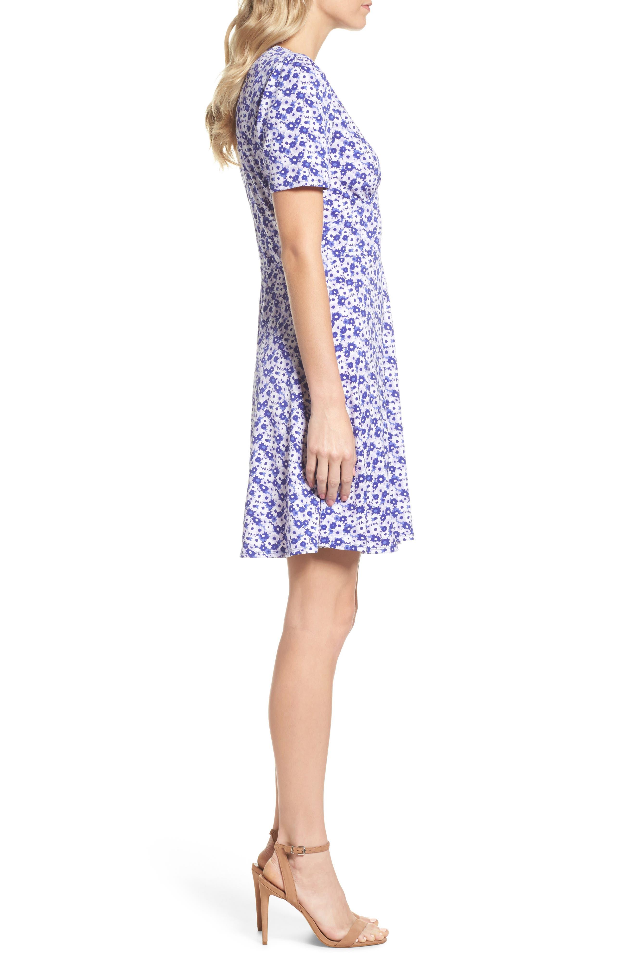 Floral Fit & Flare Dress,                             Alternate thumbnail 3, color,                             580