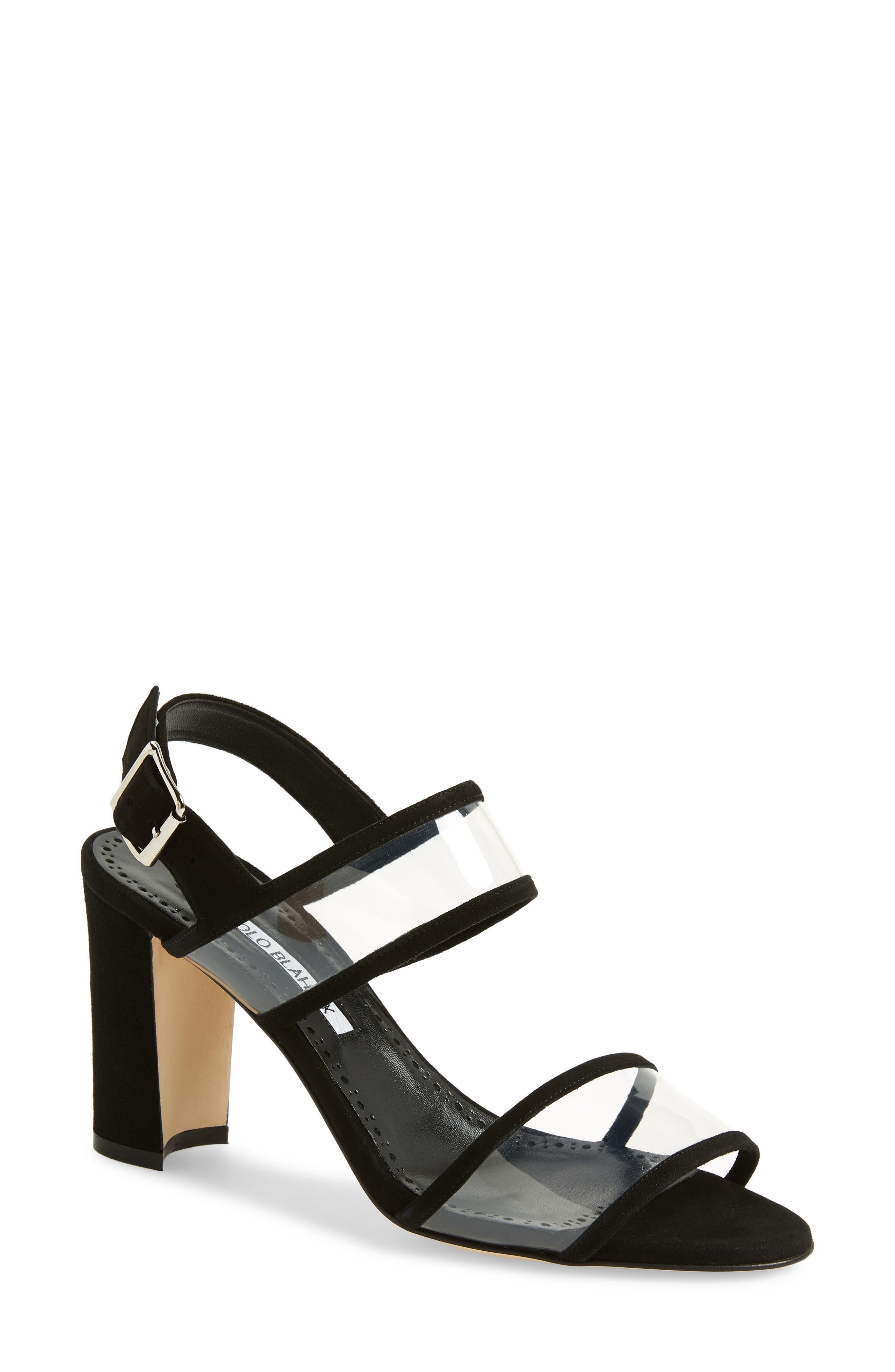 MANOLO BLAHNIK Khan Two Strap Sandal, Main, color, BLACK SUEDE